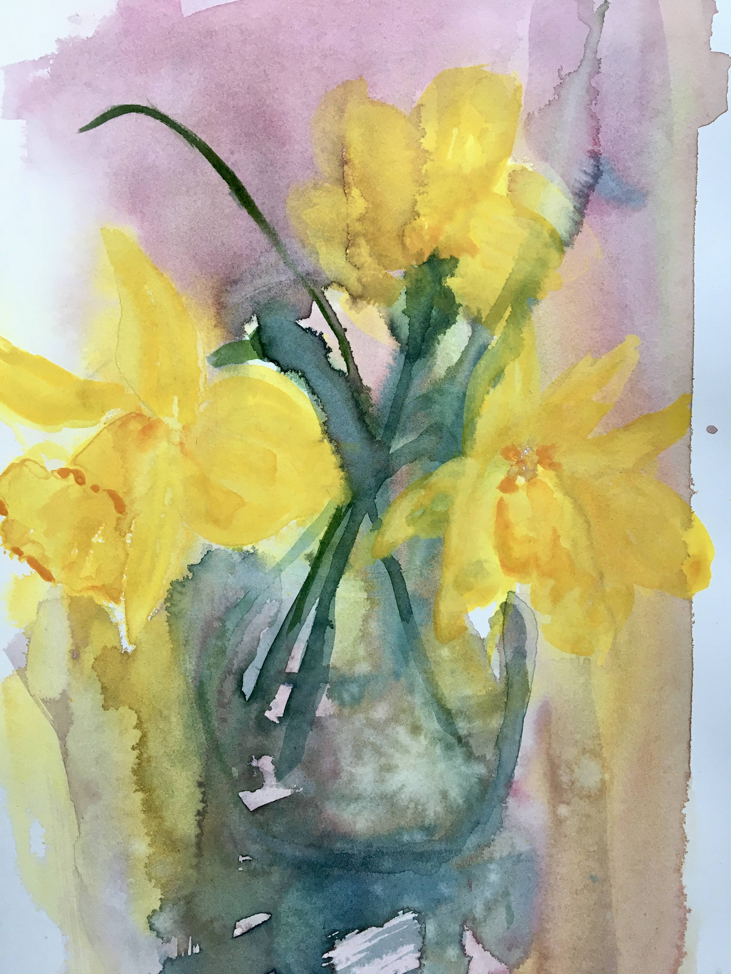 watercolour painting daffodils wet in wet loose watercolor