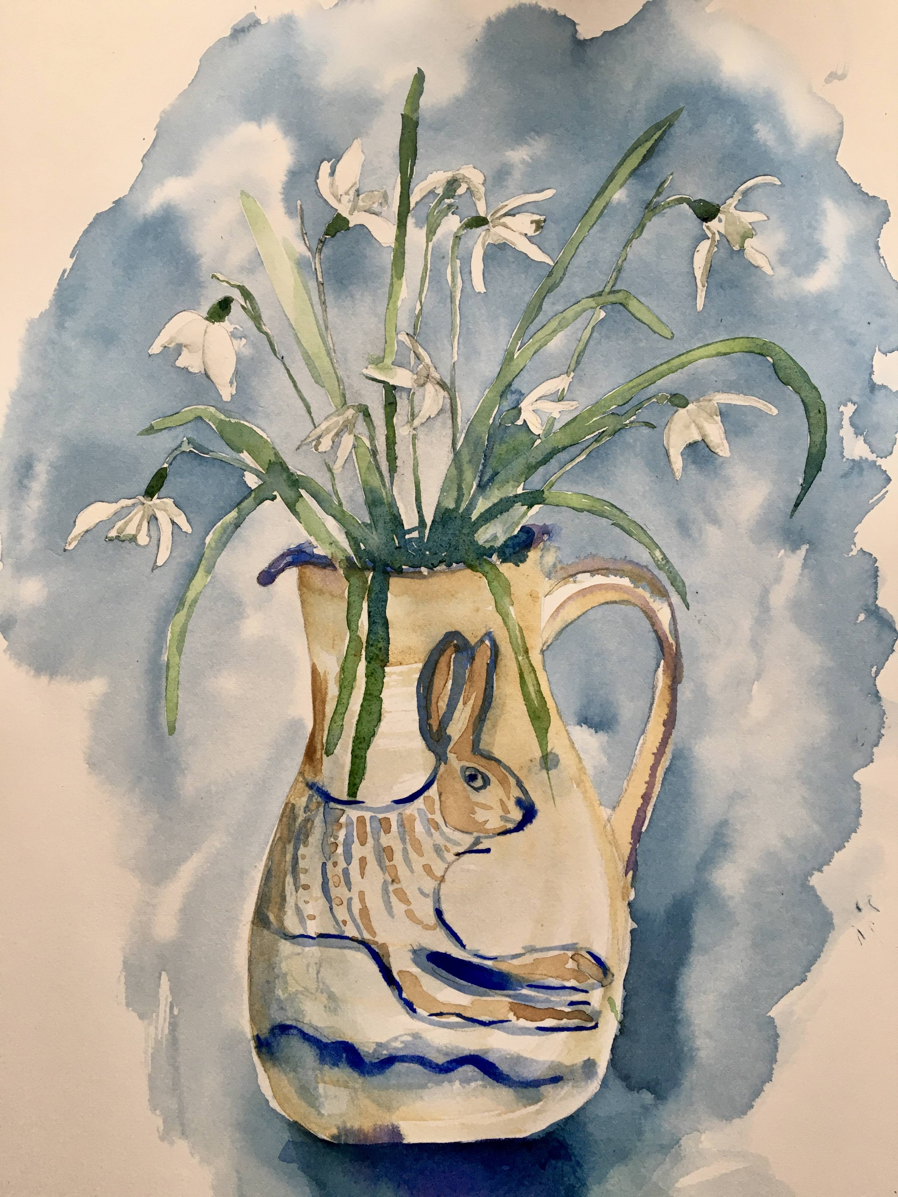 watercolour watercolor snowdrops in jug with rabbit