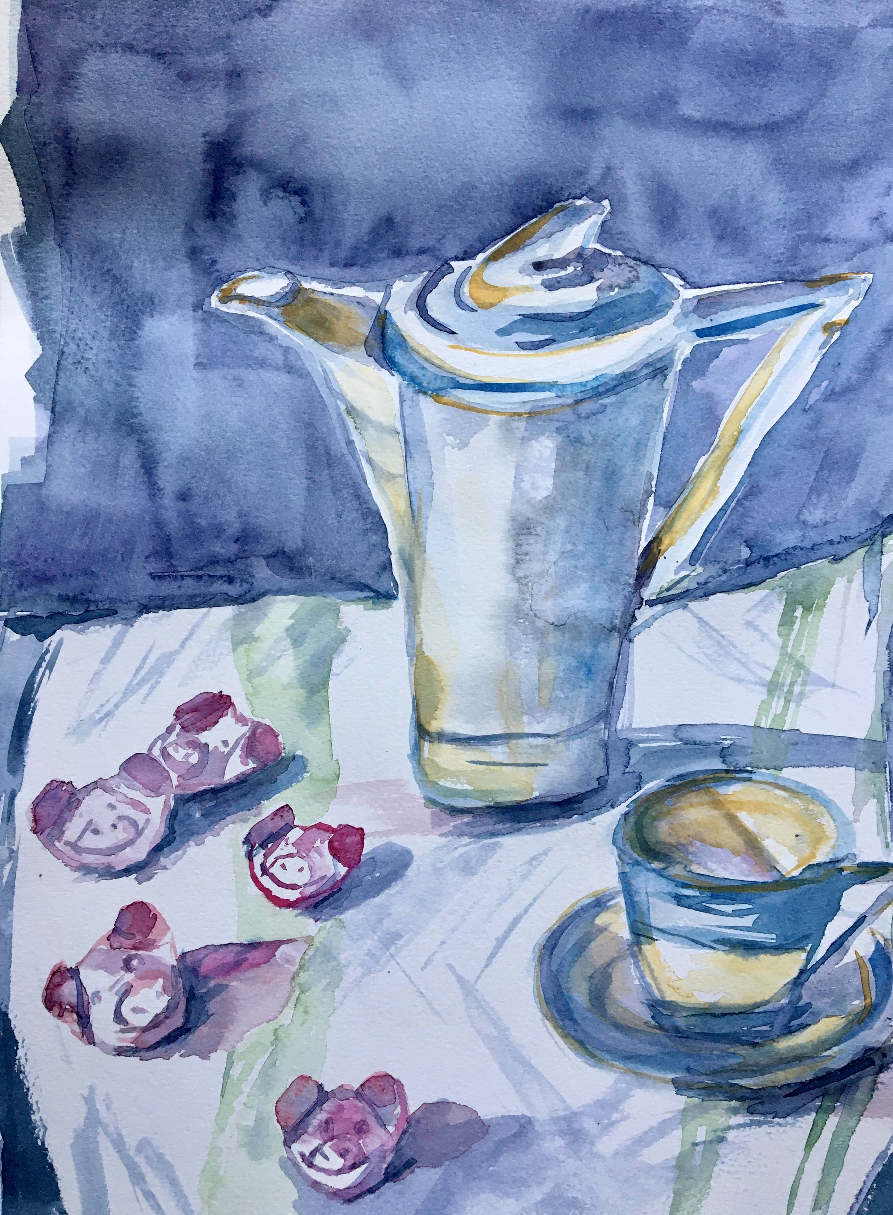 watercolour art deco coffee pot and cup Percy Pigs sweets watercolor