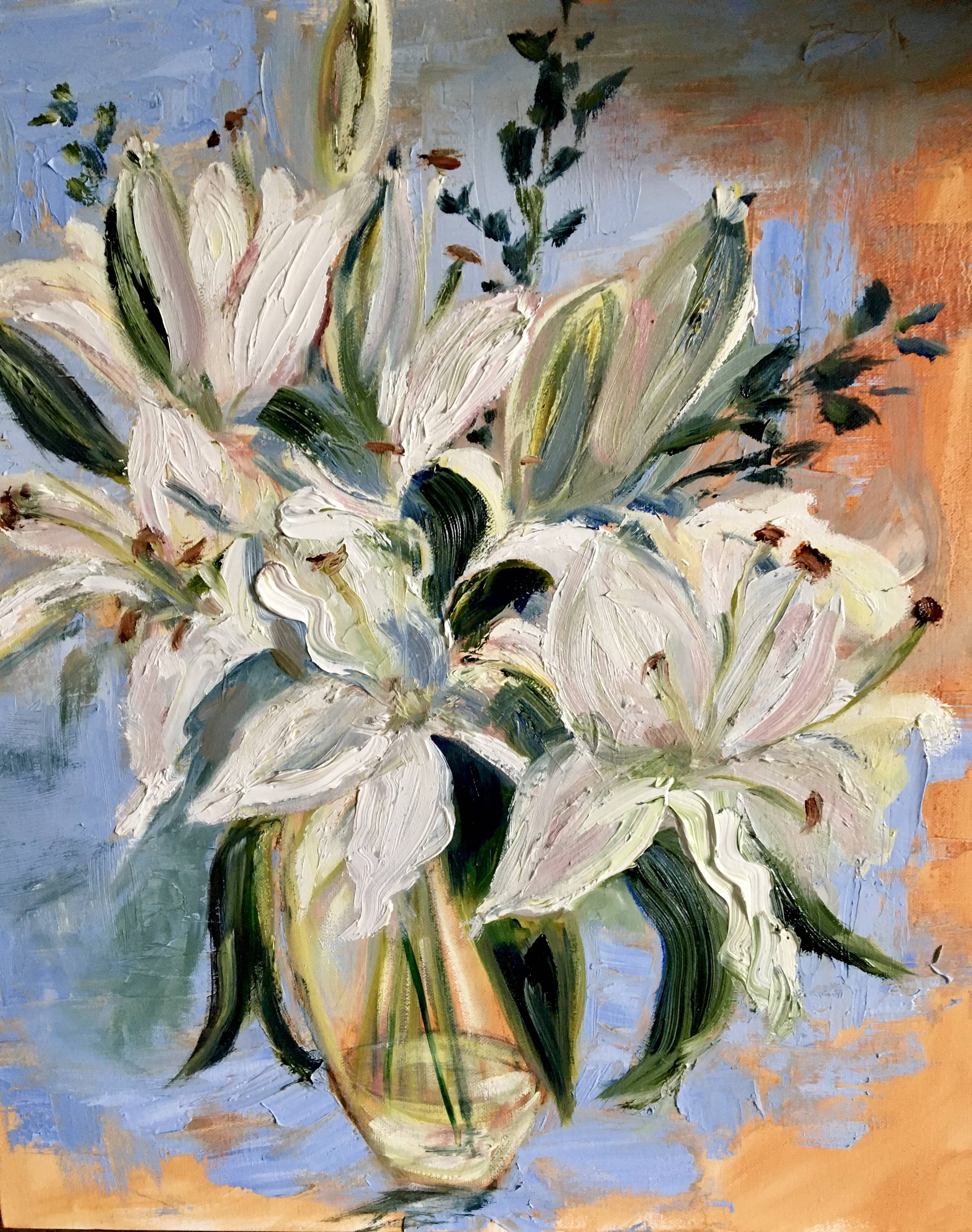 impasto oil painting still life white lillies in glass vase