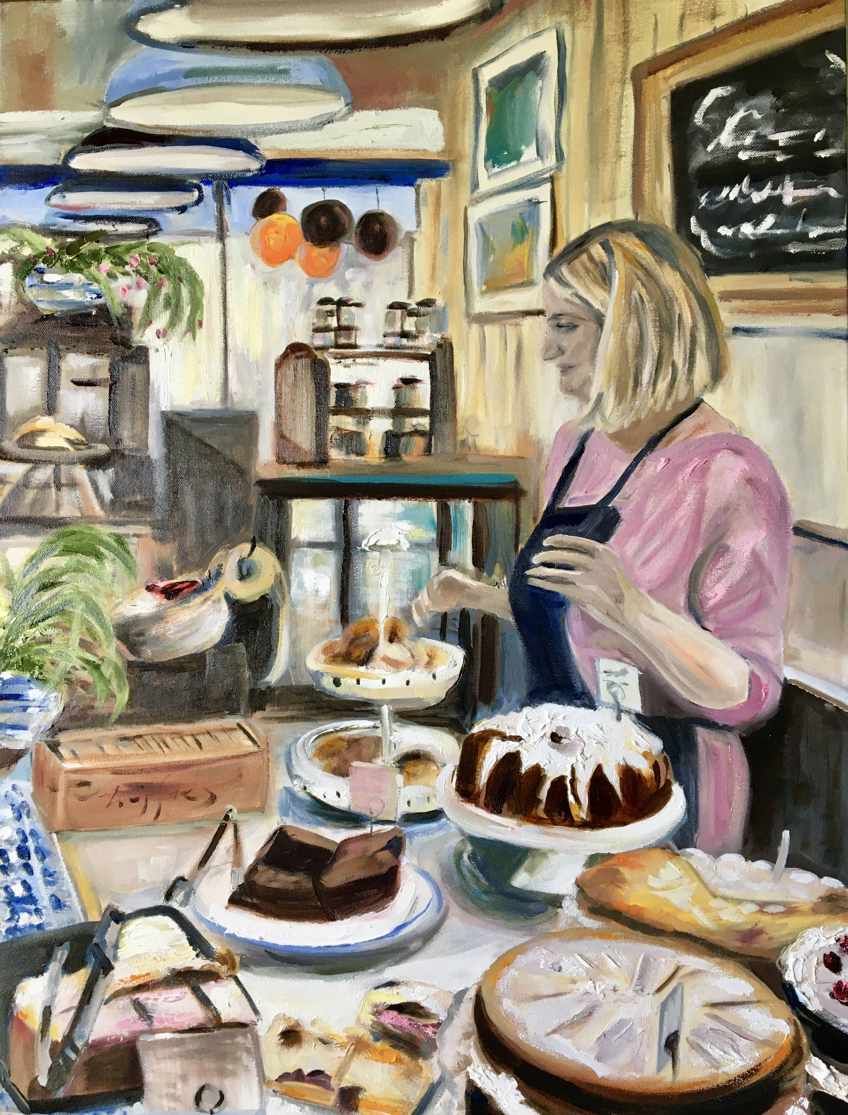 oil painting cafe cakes in cafe pink dress