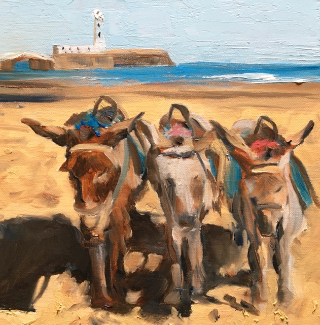 oil painting donkeys on beach scarborough