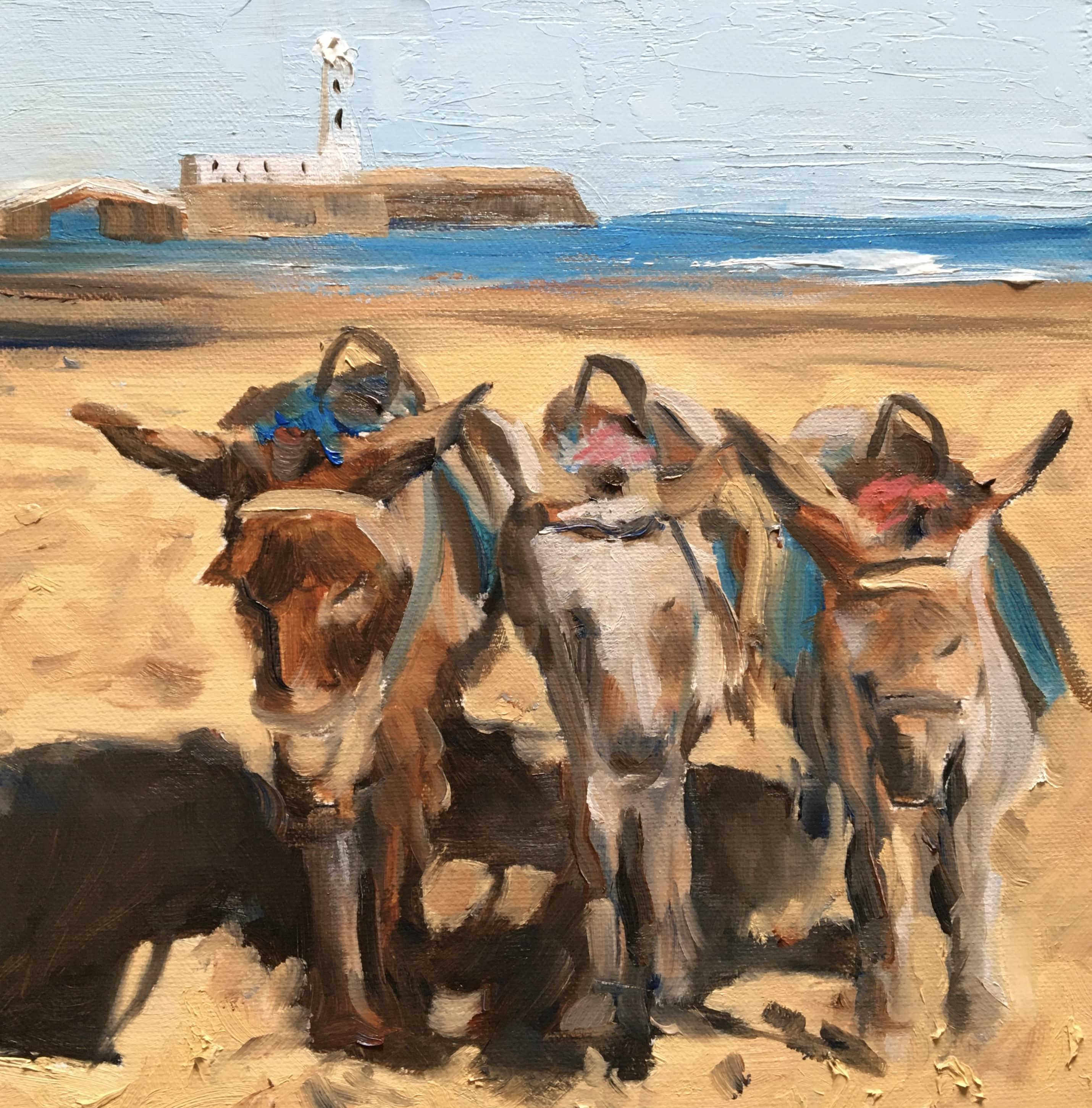 oil painting beach donkeys scarborough yorkshire coast beach sea blue sky