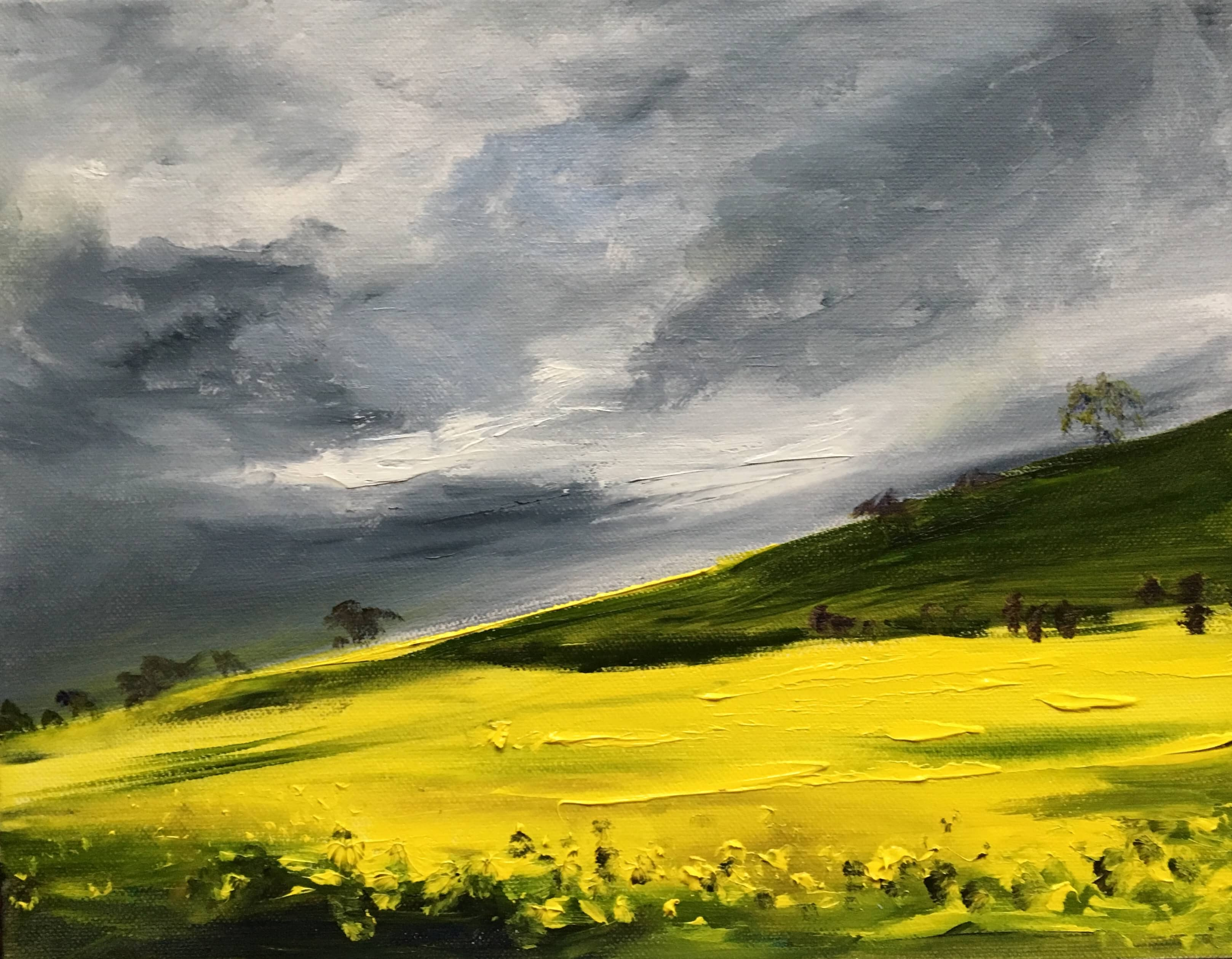 oil painting landscape yellow and grey oil seed rape field grey clouds