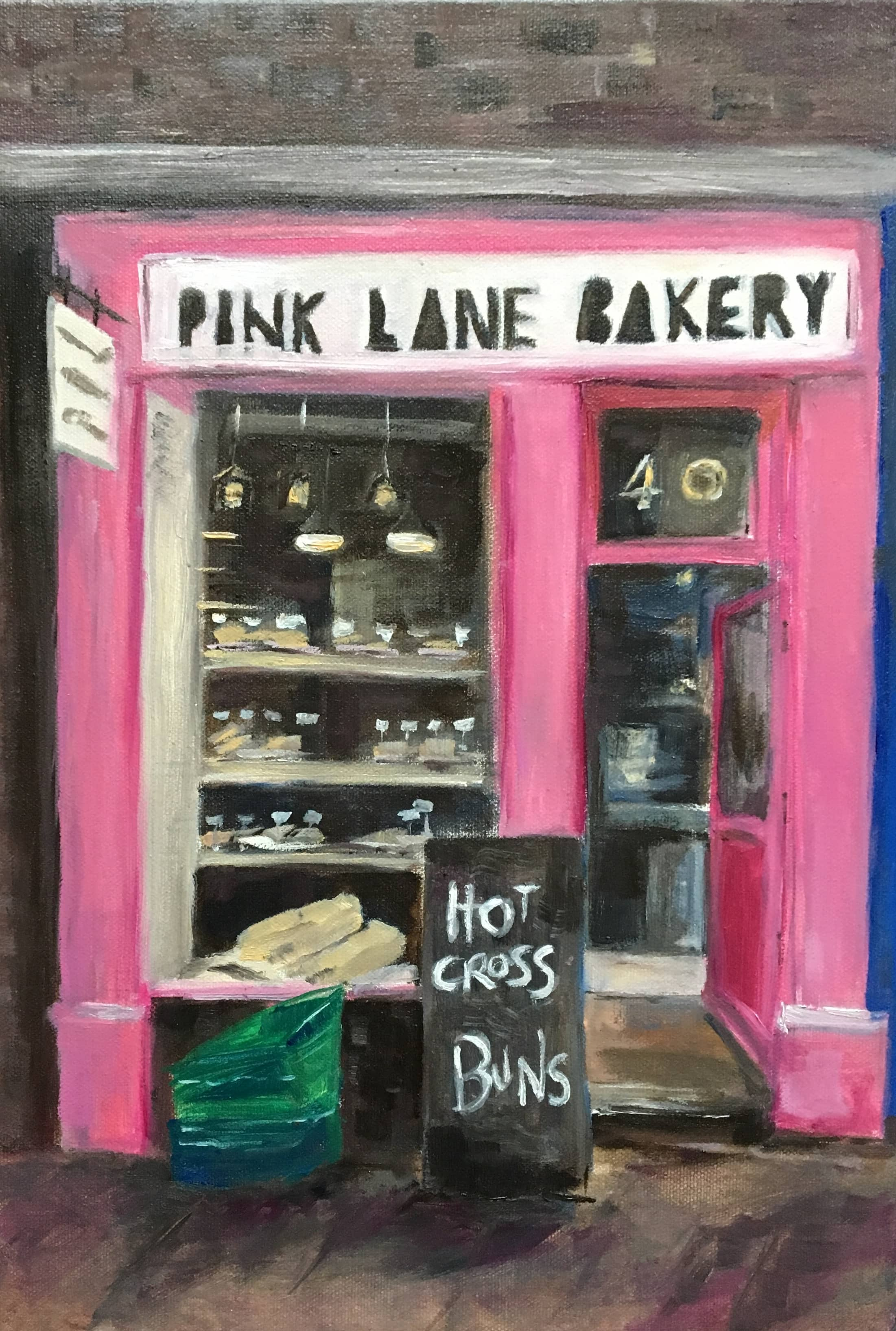 Pink Lane Bakery oil painting shop front