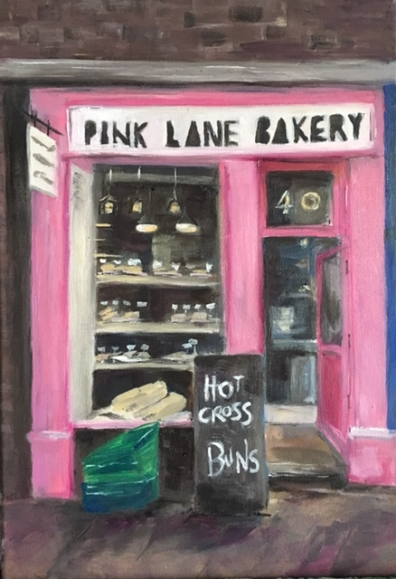 oil painting pink lane bakery shop newcastle