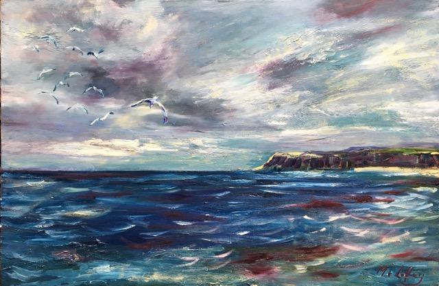 Oil Painting Seascape waves East coast hartlepool
