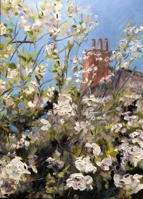 Oil Painting Apple Blossom Blue sky white flowers chimney pots