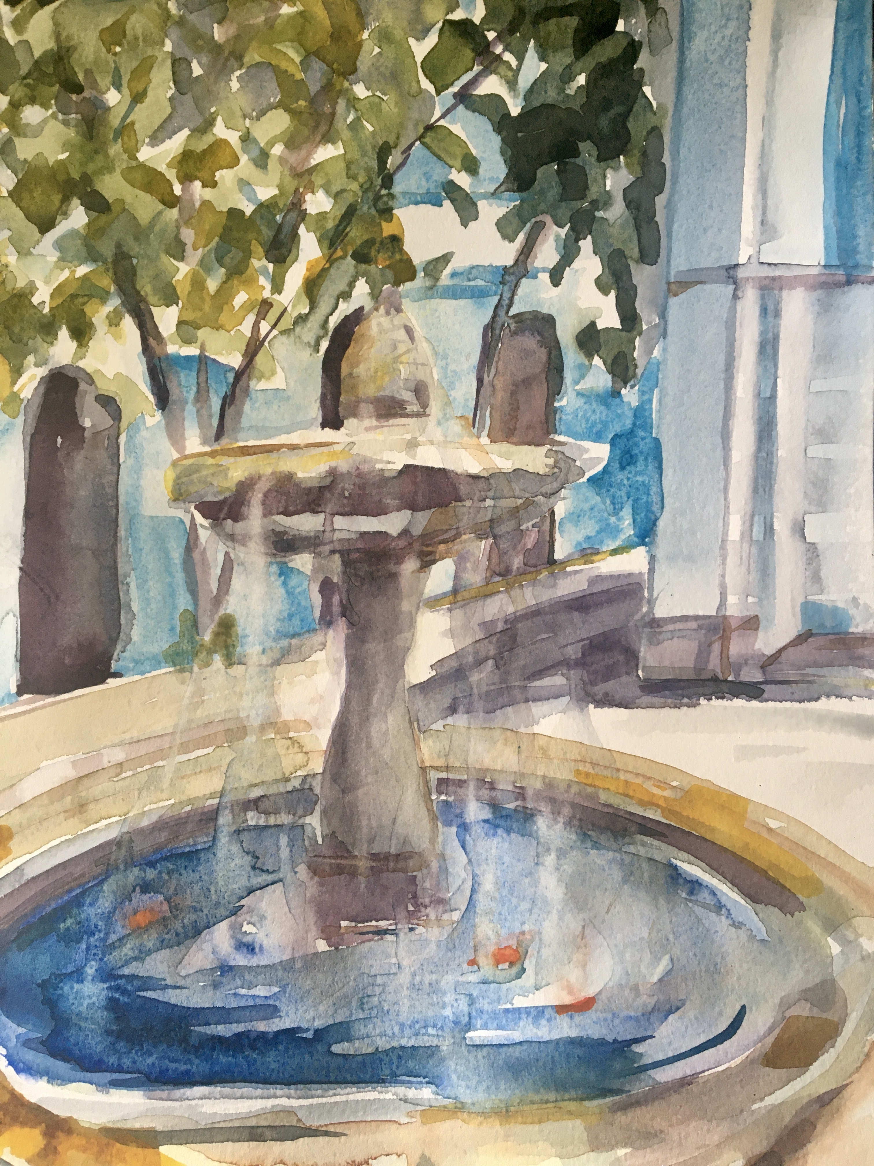 watercolour of fountain in courtyard with goldfish trees and blue buildings sunny climate