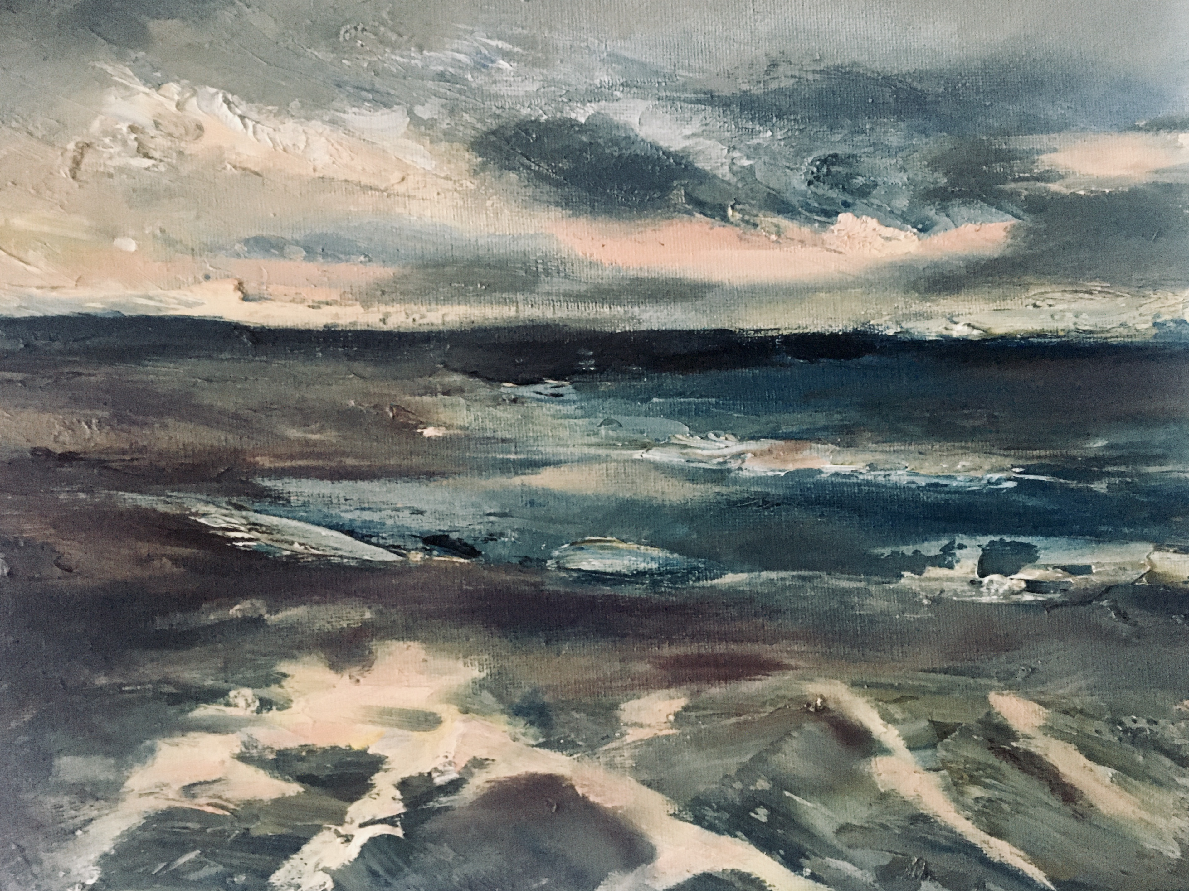 oil painting sunset on Northumberland beach