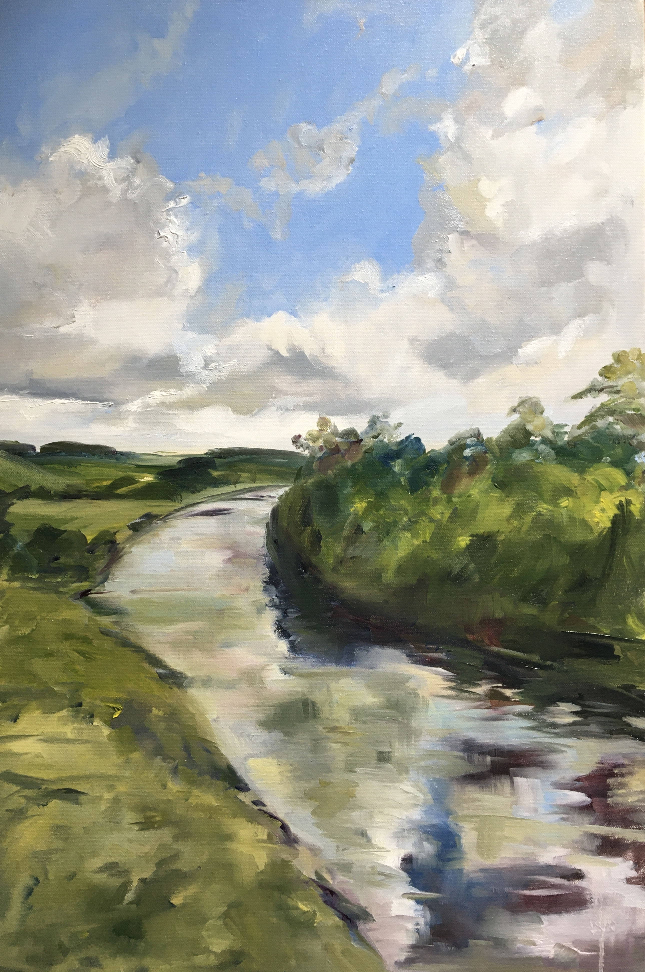 River painting in oils blue sky and clouds