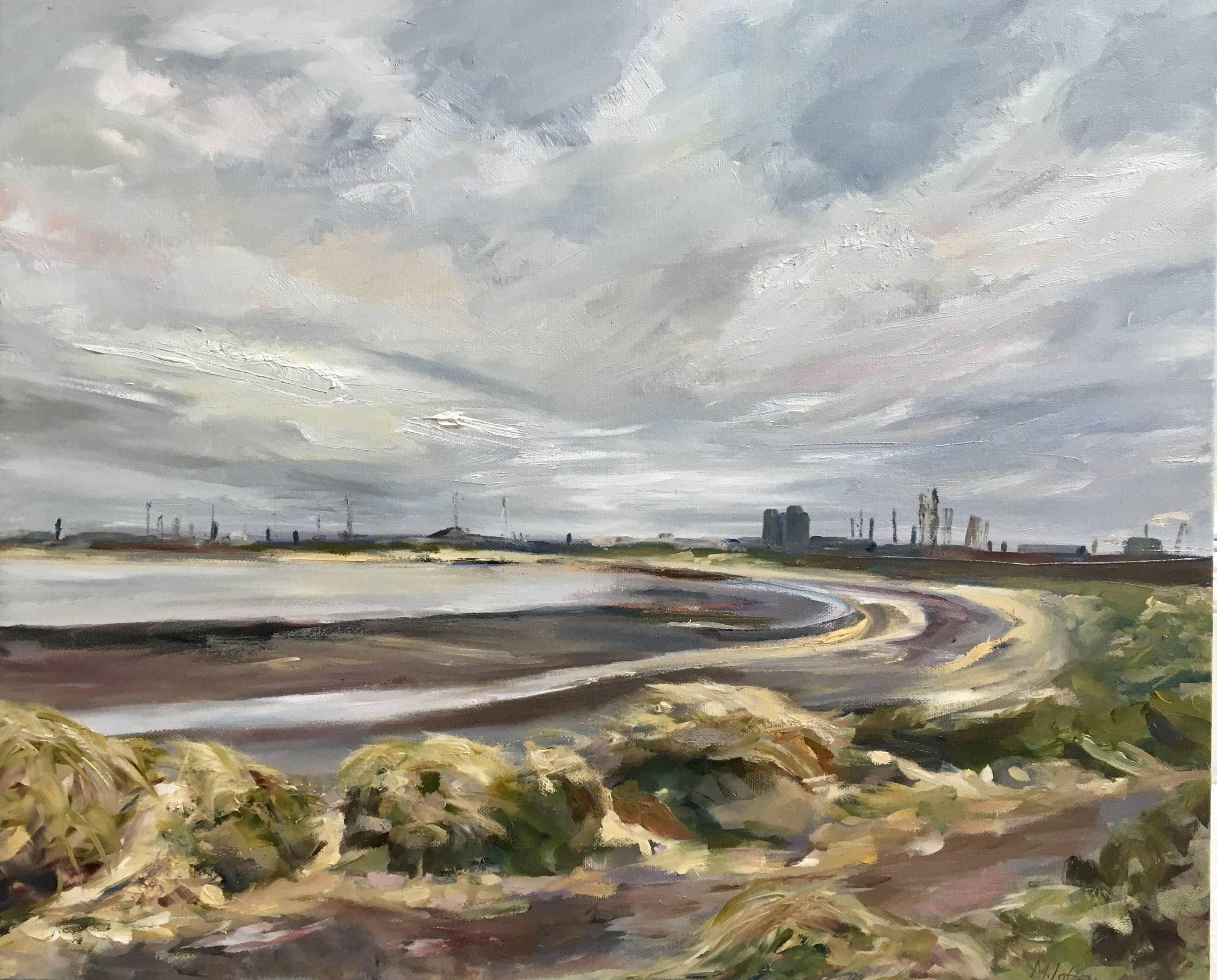 Oil Painting tees estuary sand dunes hartlepool seaton carew low tide industrial landscape