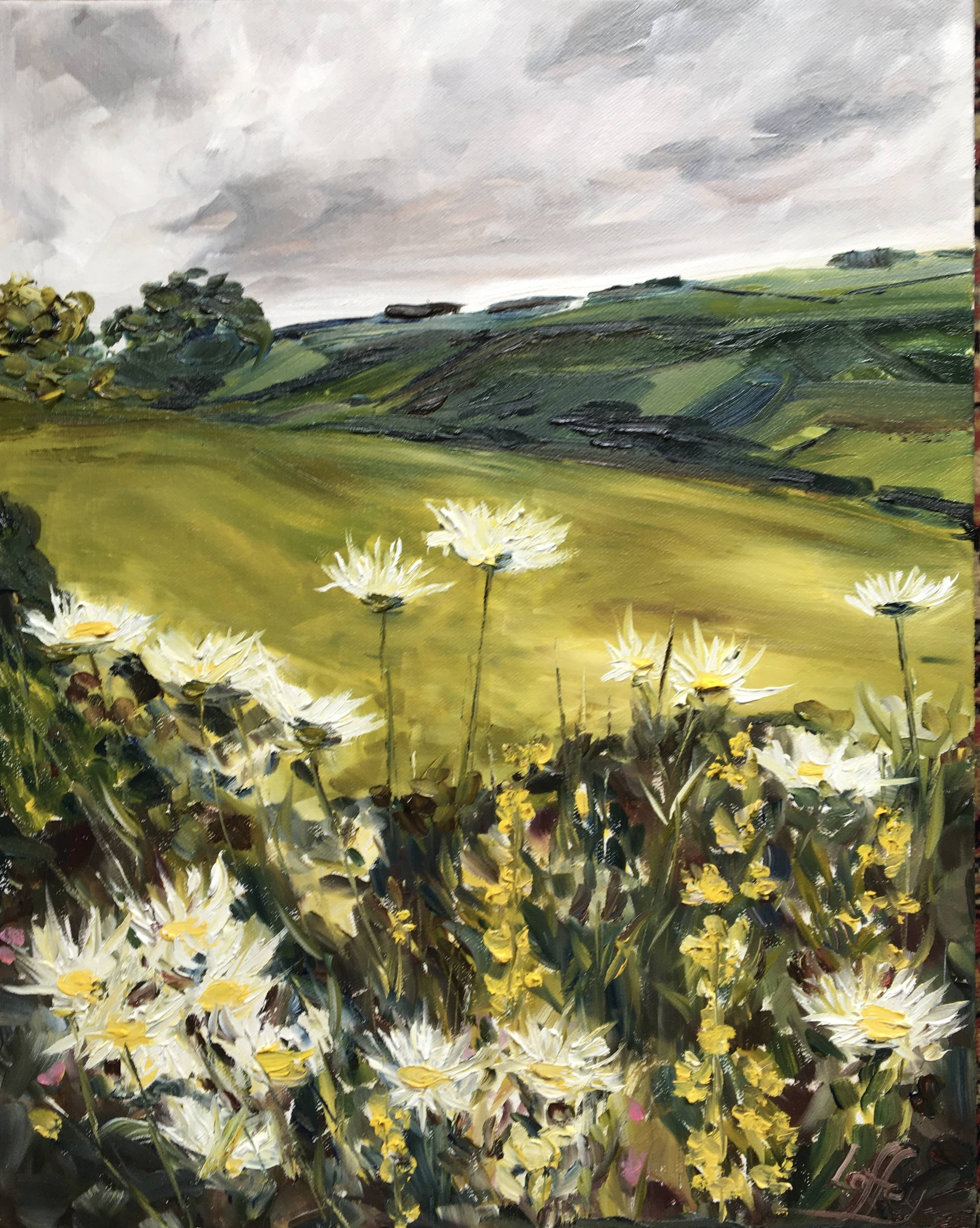 oil painting grey sky landscape daisies fields green yellow white