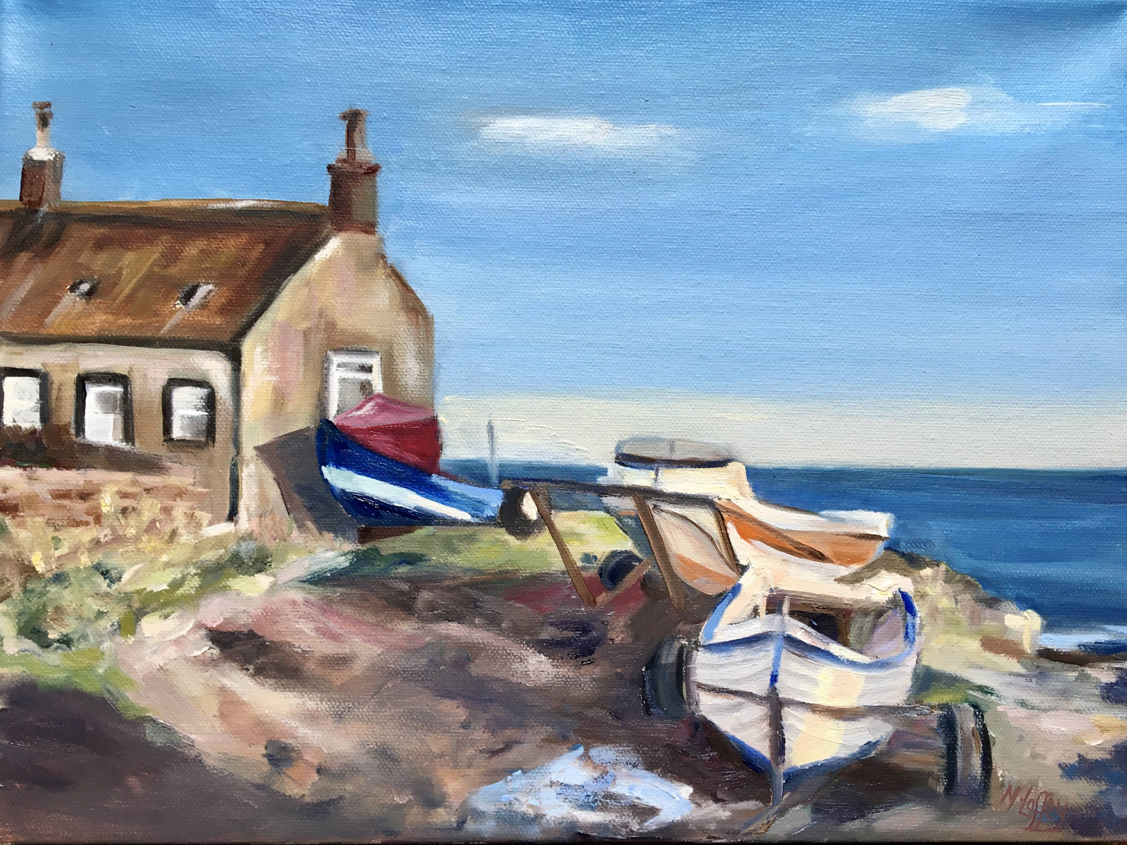 Boulmer fishing boats oil painting seascape blue and white cottage by the sea