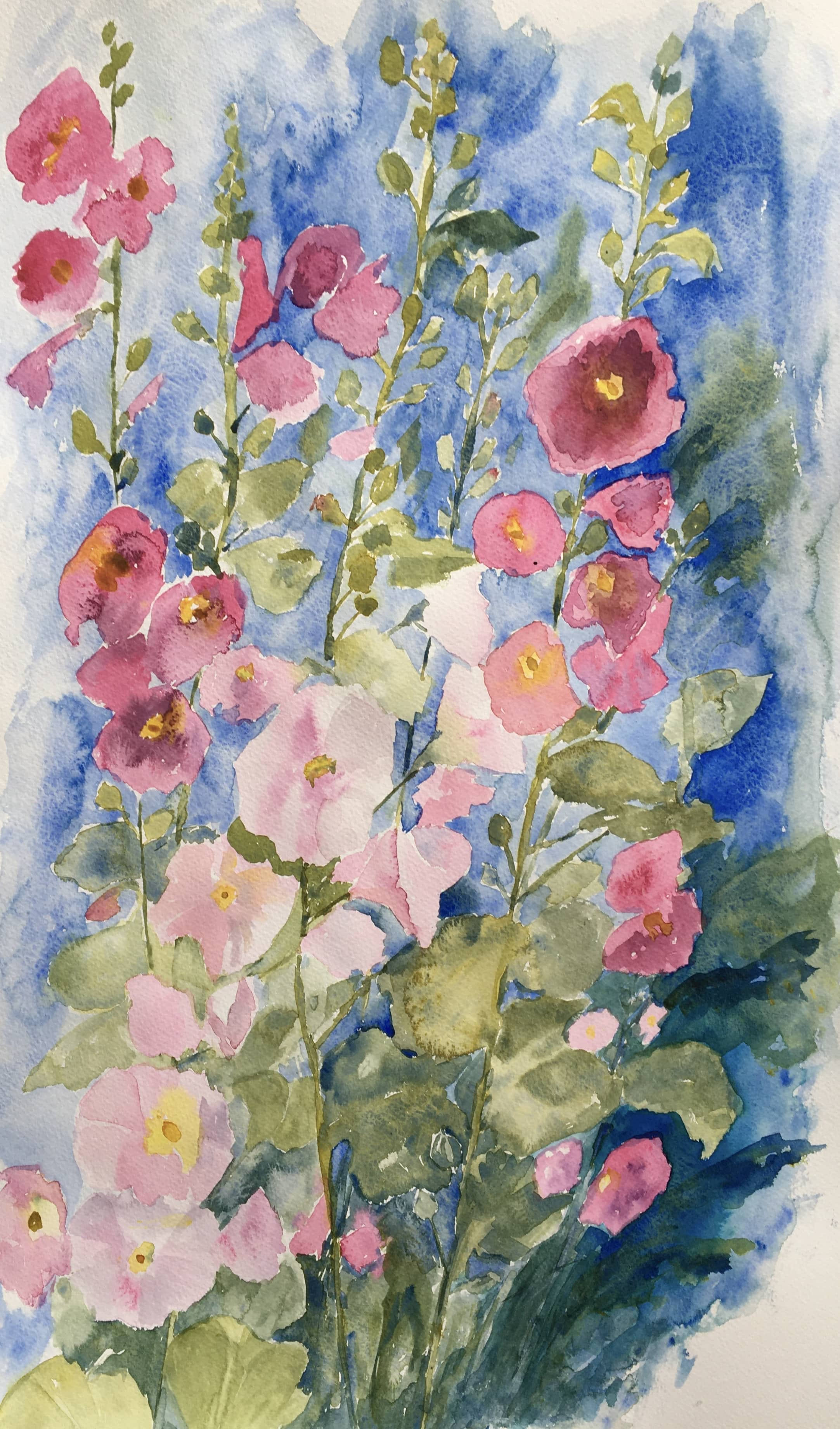 Watercolour painting hollyhocks pink green and blue