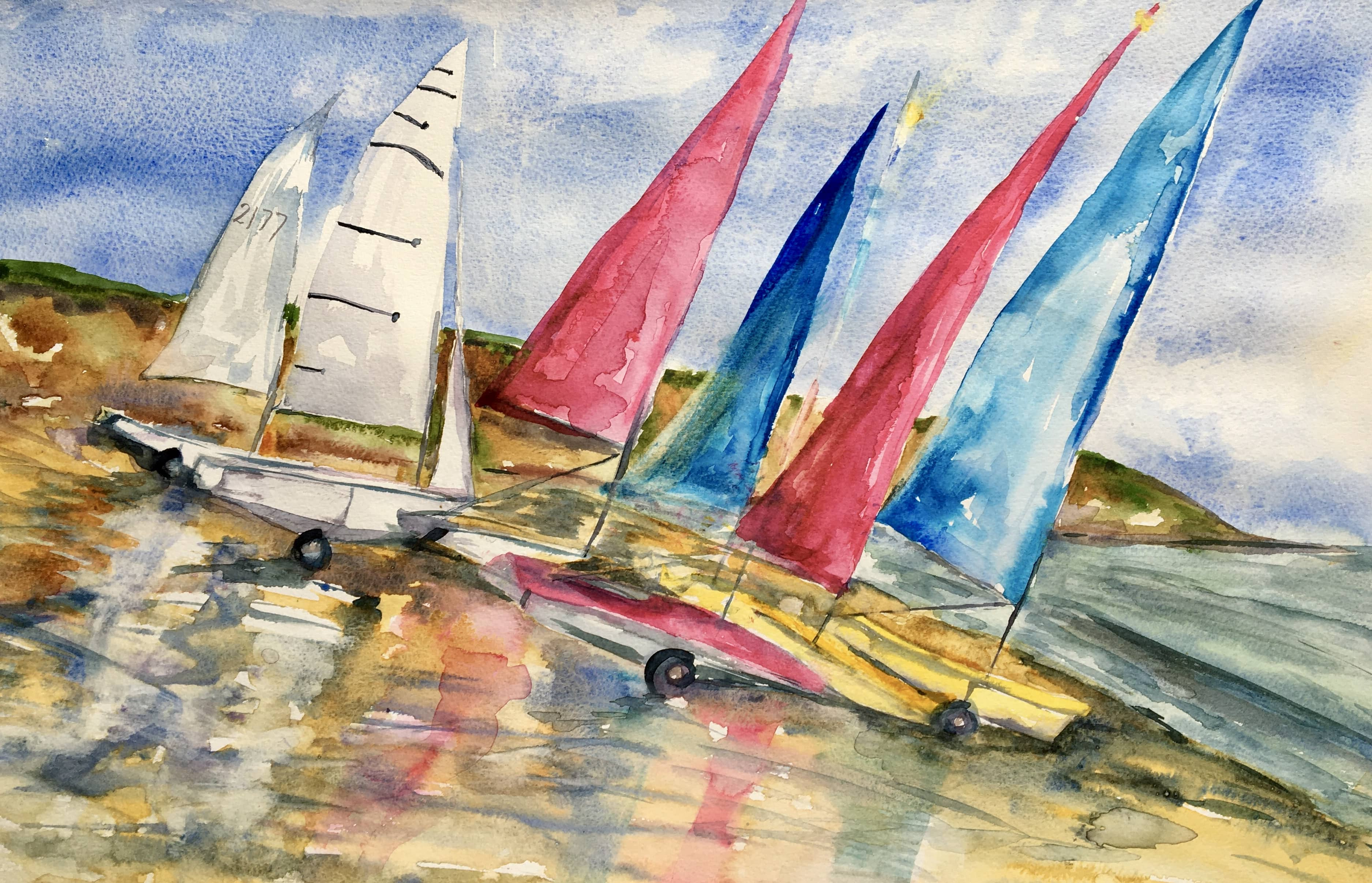 watercolour of siling boats on the beach red blue and white sails