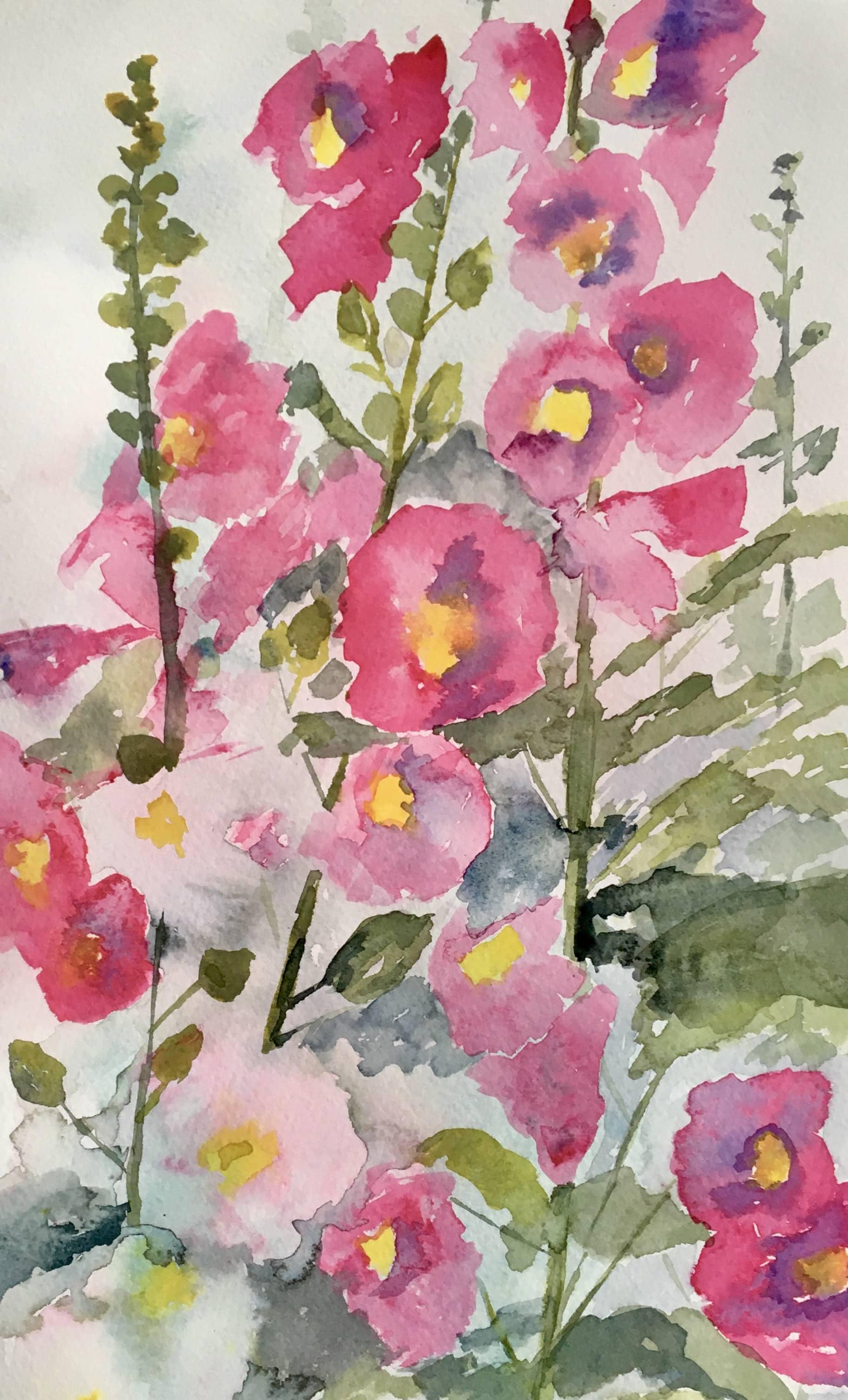Watercolour of hollyhocks pink flowers