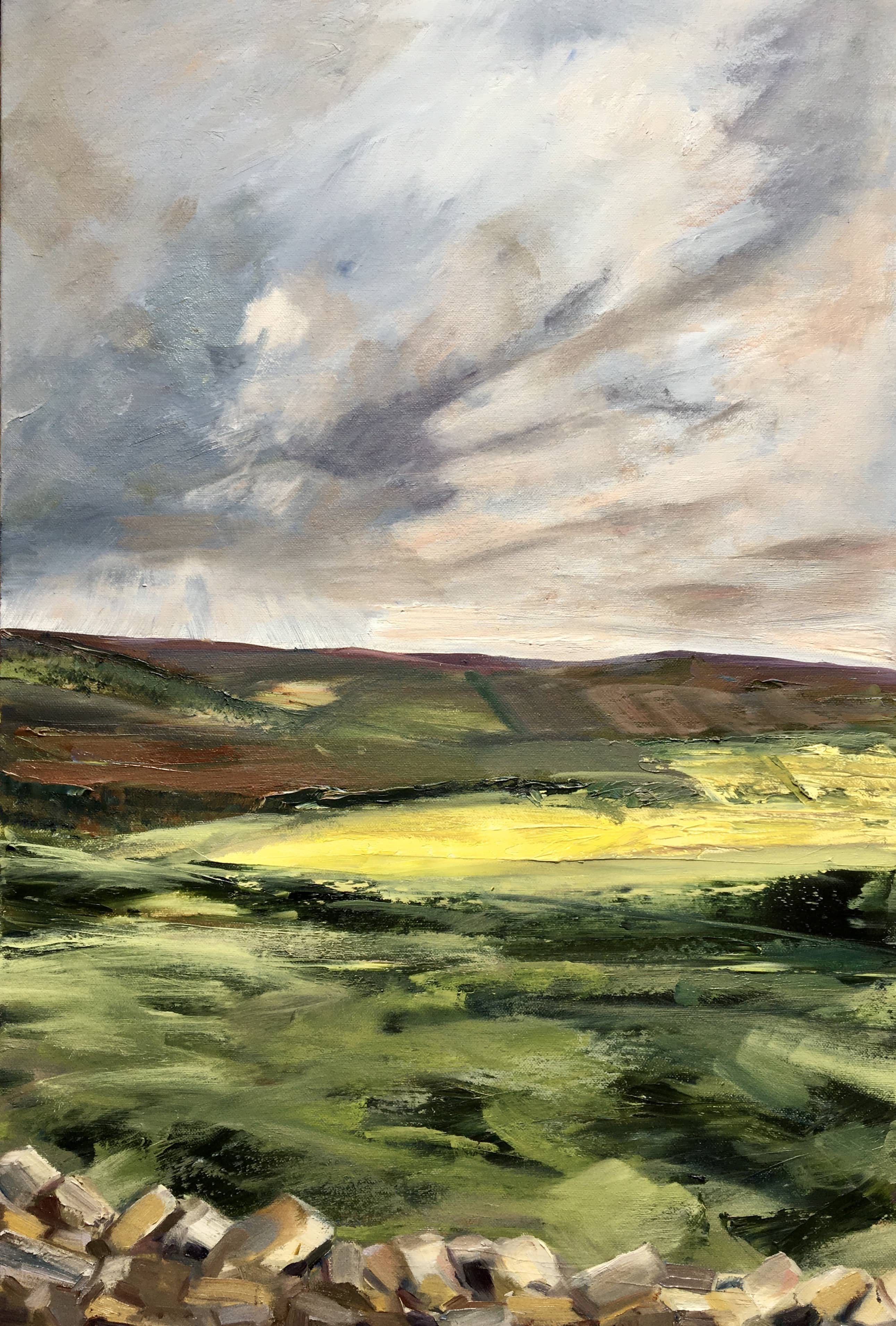 allen valley Landscape painting in oils Northumberland stormy sky