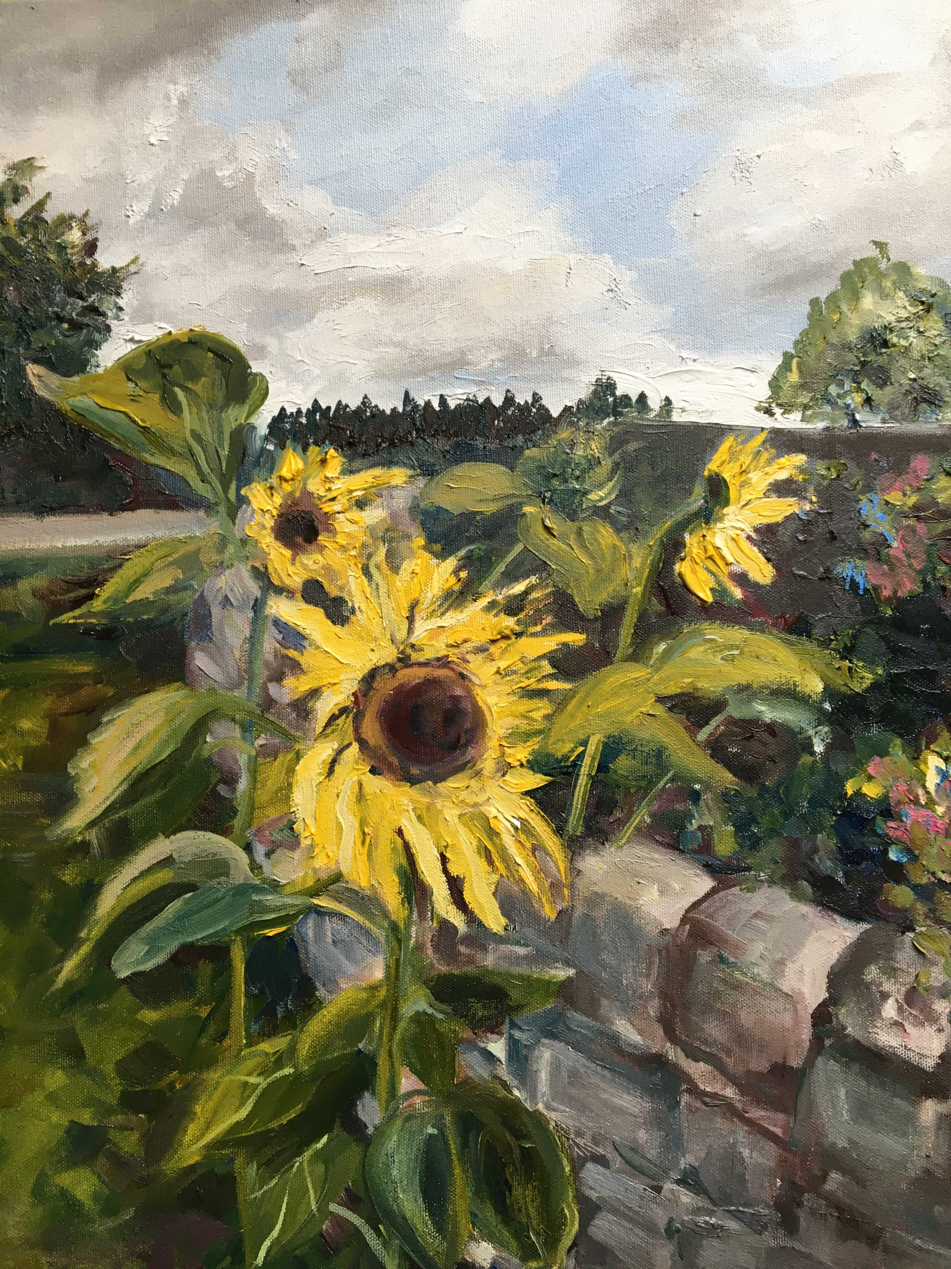 Oil Painting of sunflowers blue sky yellow flowers trees northumberland oil on canvas