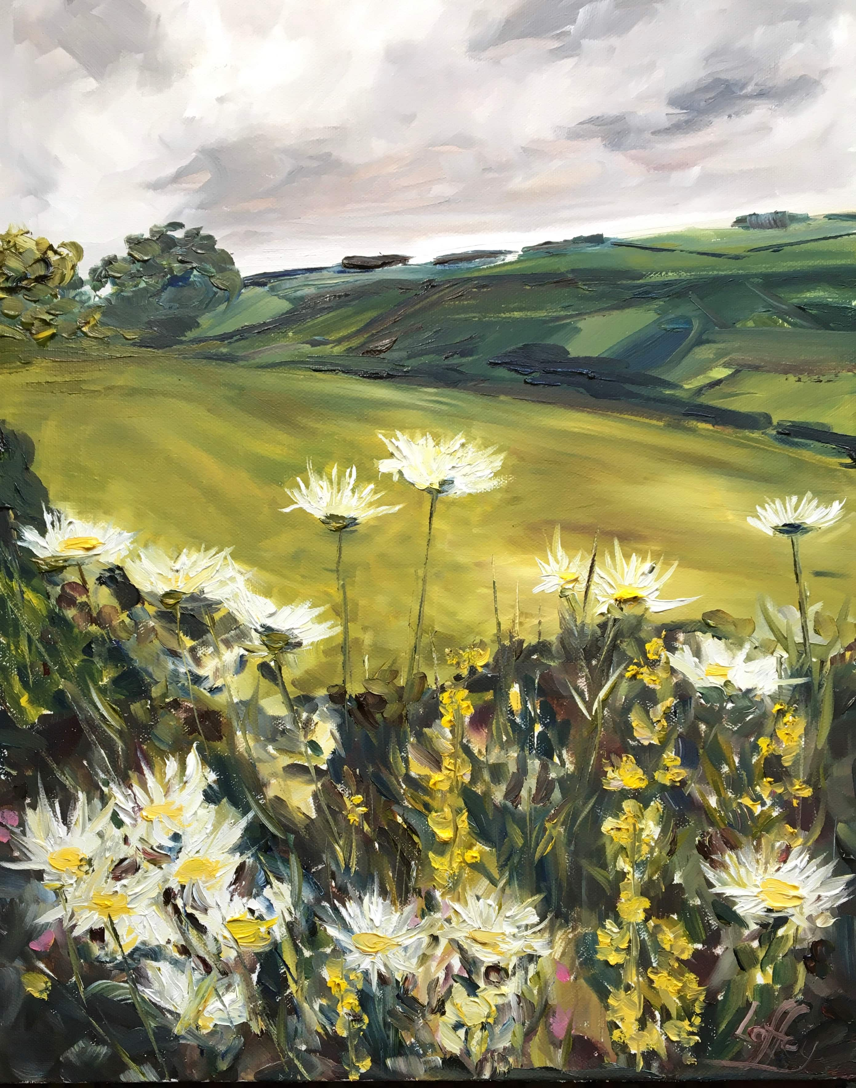 oil painting daisies grey sky green valley oil on canvas
