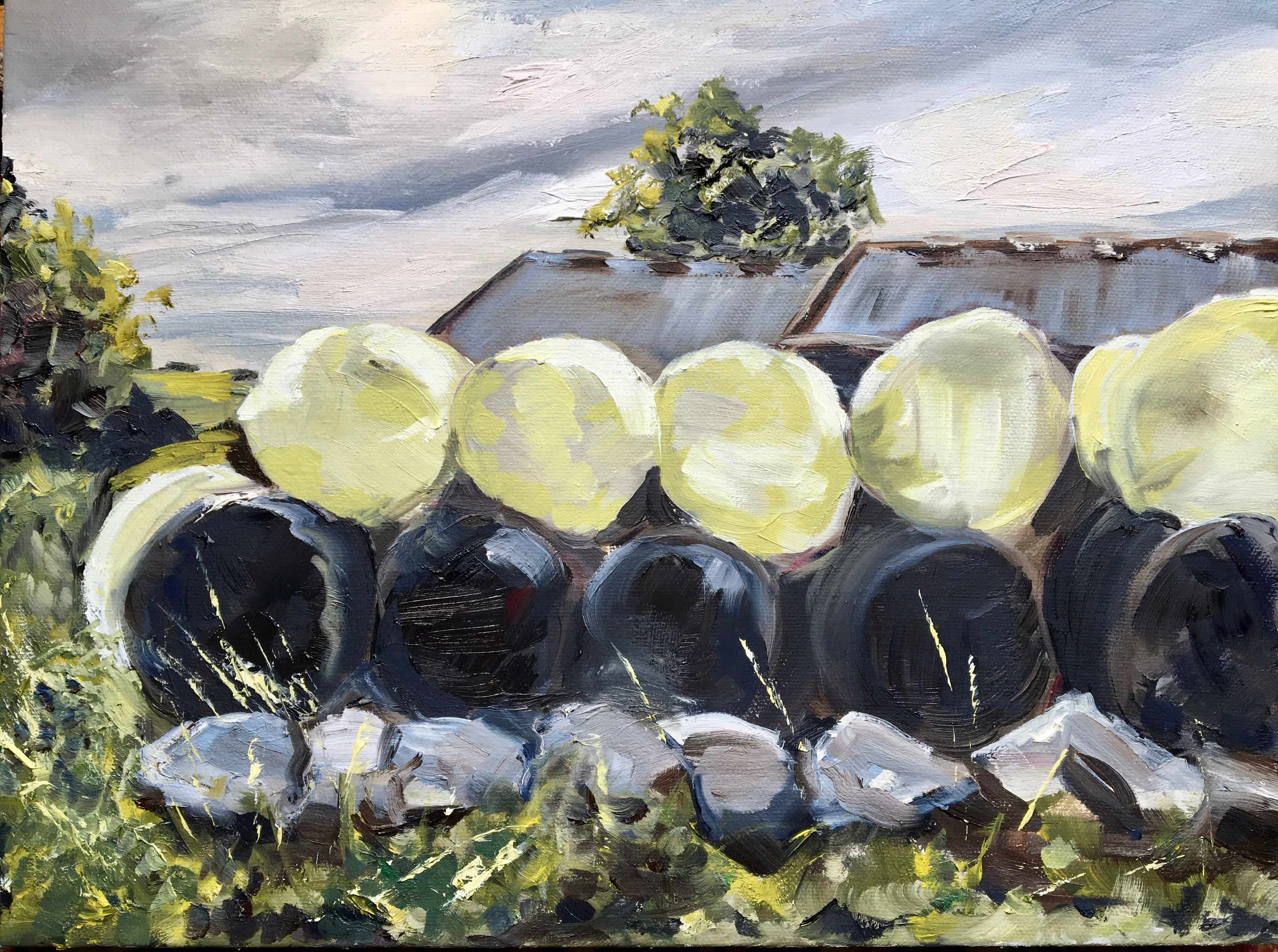oil painting silage bales grey sky barn cream and black
