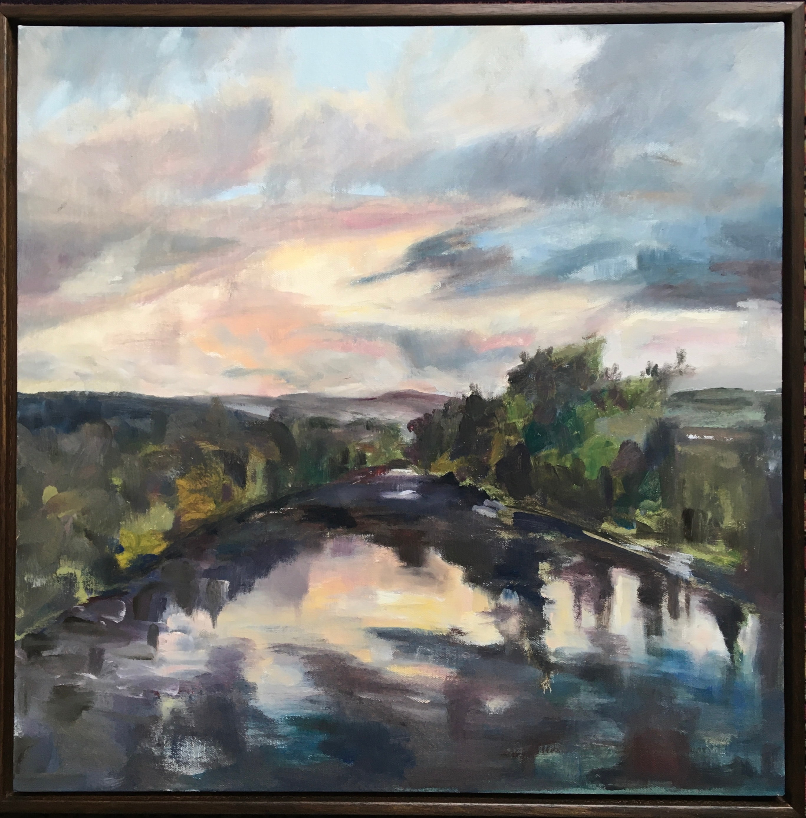 Oil On Canvas sunset river reflections grey and peach