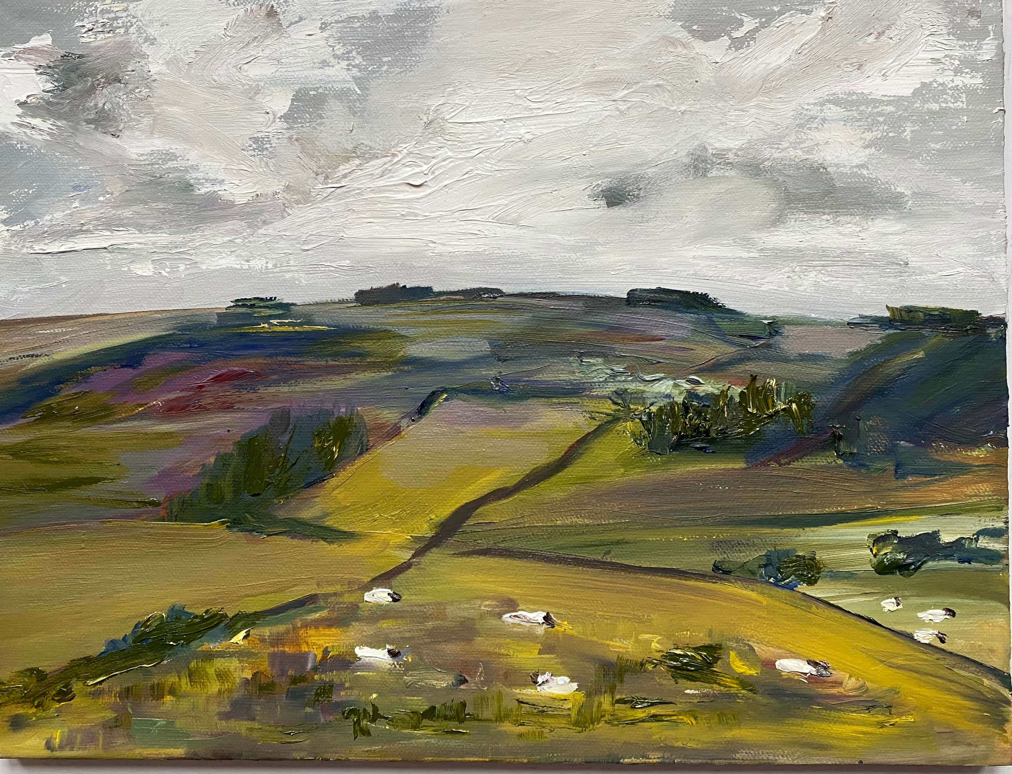 Oil painting of sheep in the landscape
