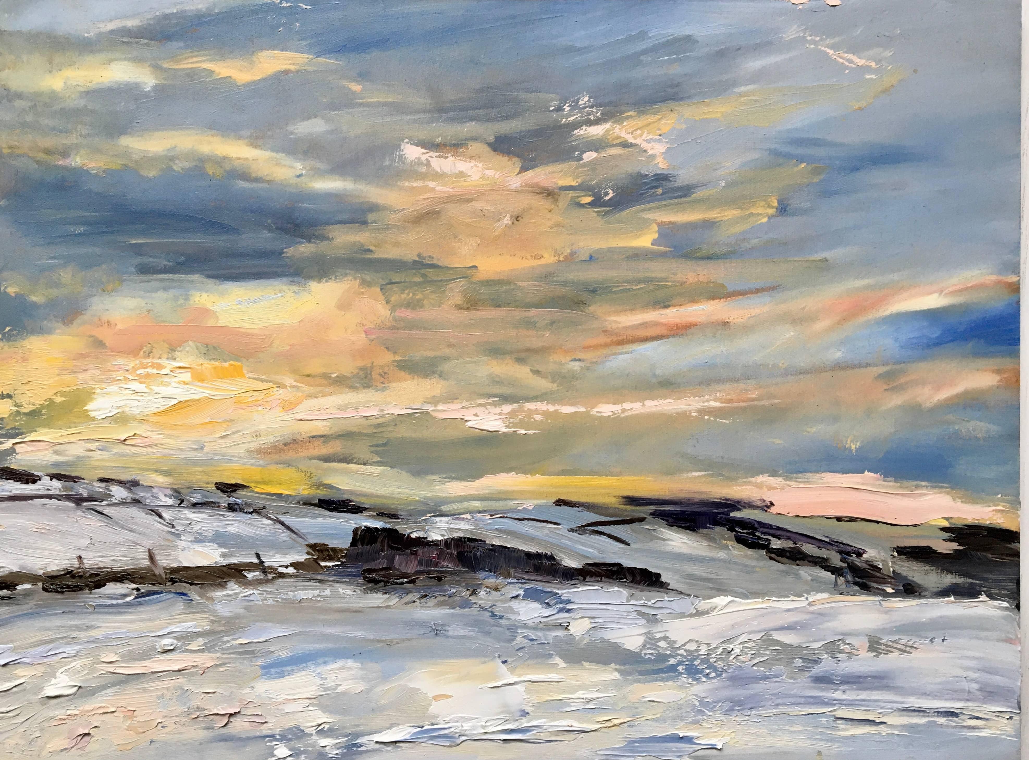 Sunset snow scene landscape painting in oils