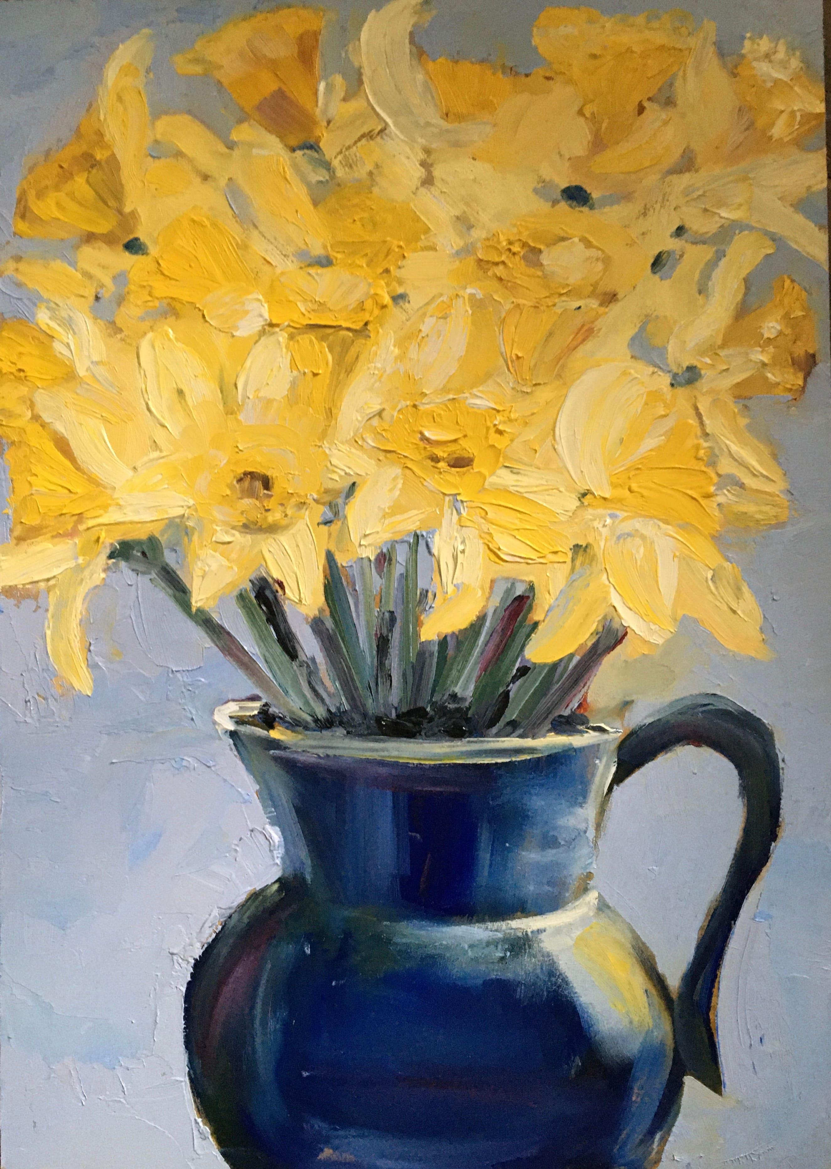 daffodils oil painting blue jug impasto paint