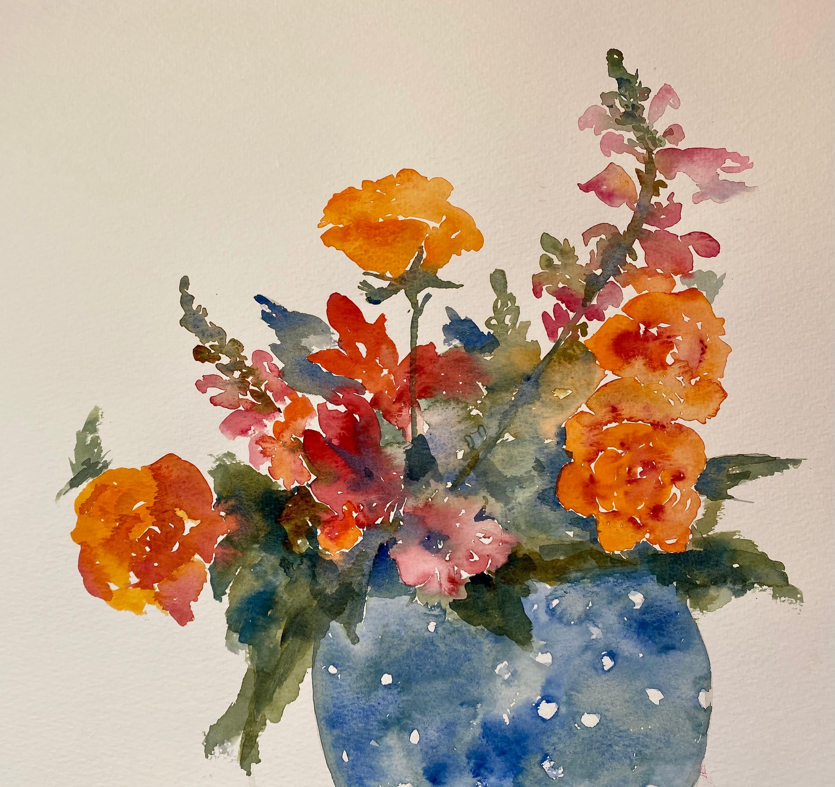 watercolour painting orange flowers blue jug