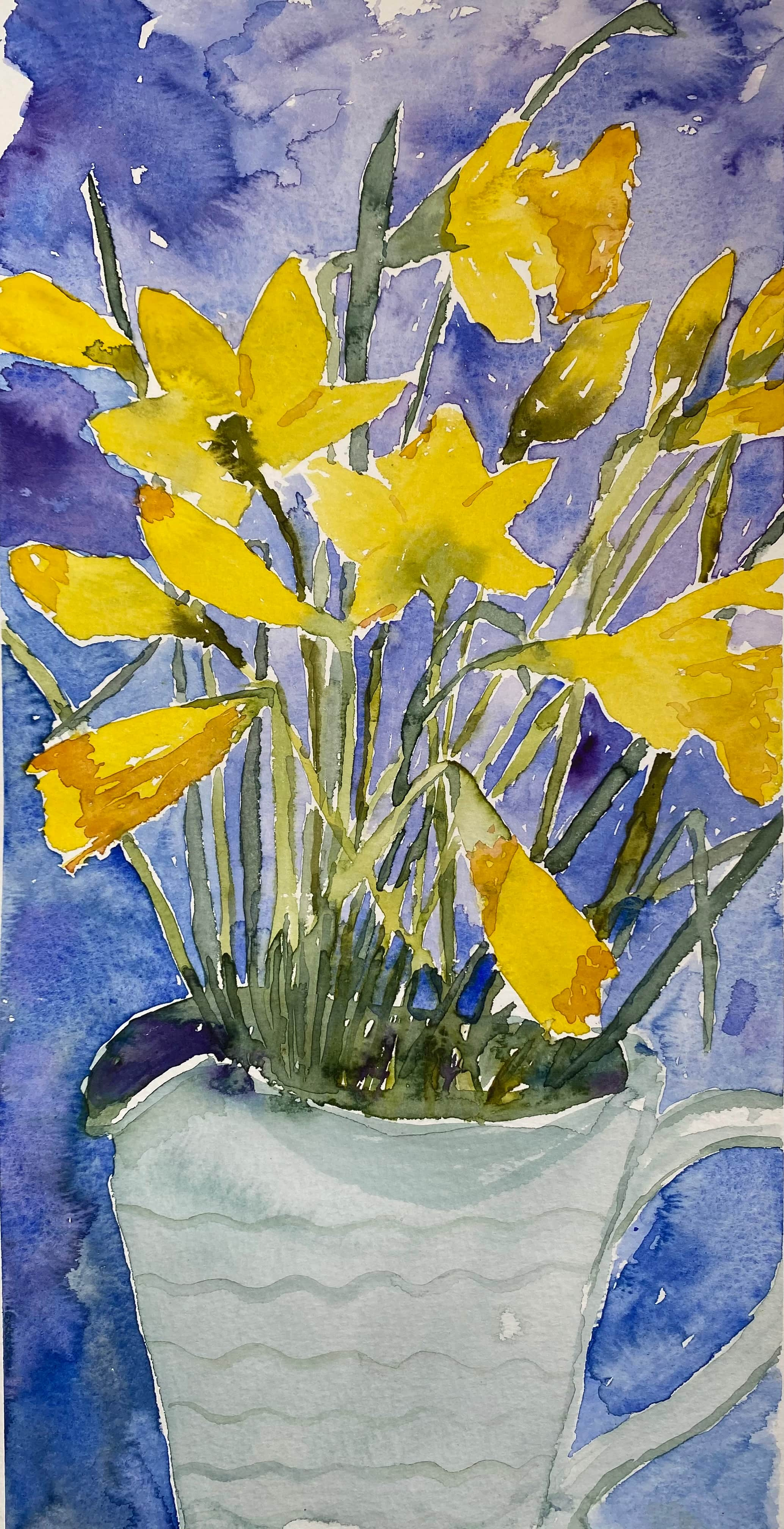 yellow daffodils watercolour painting blue background white jug