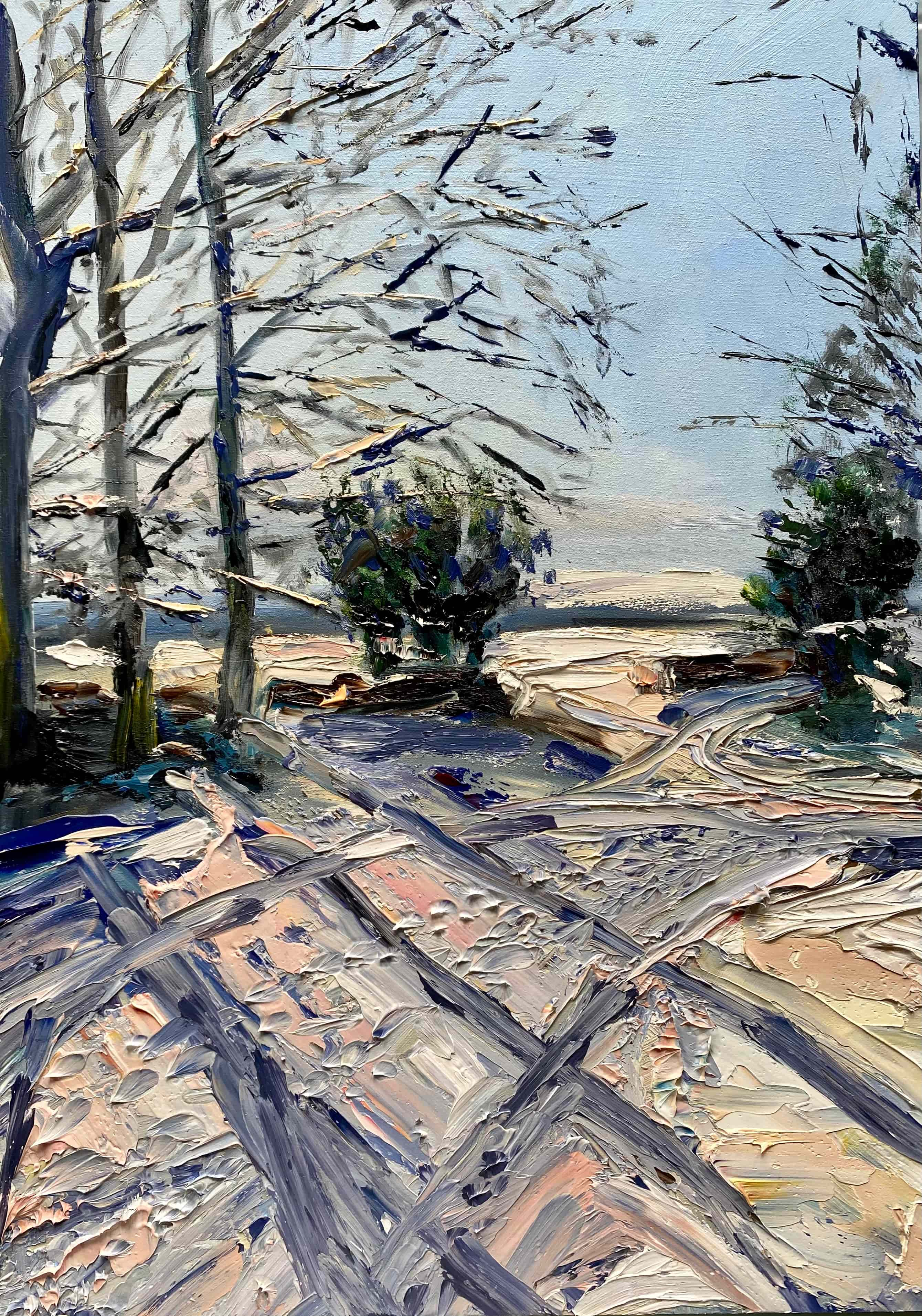 oil painting snow blue white pink shadows trees footprints