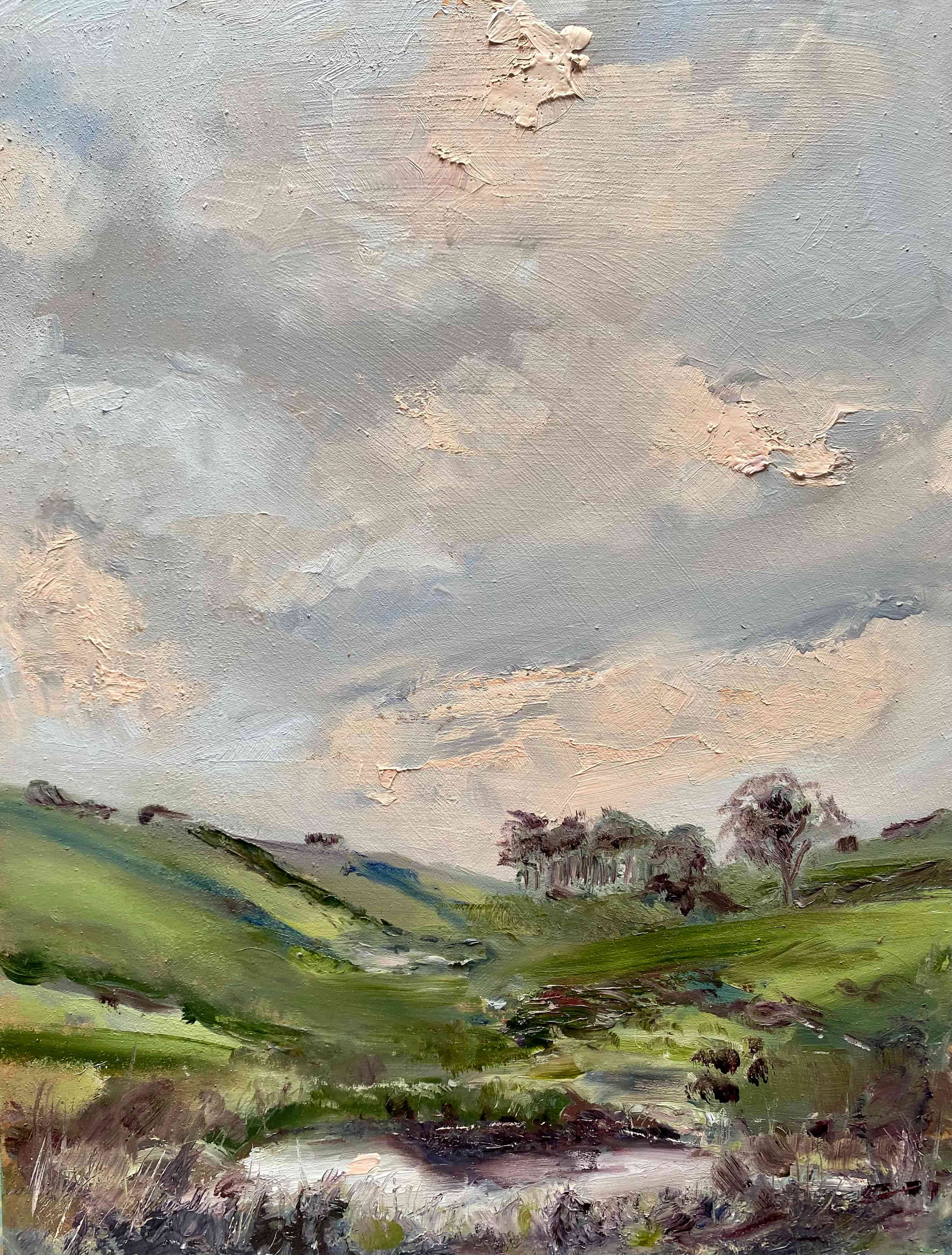 oil painting evenig sky pink and grey pond