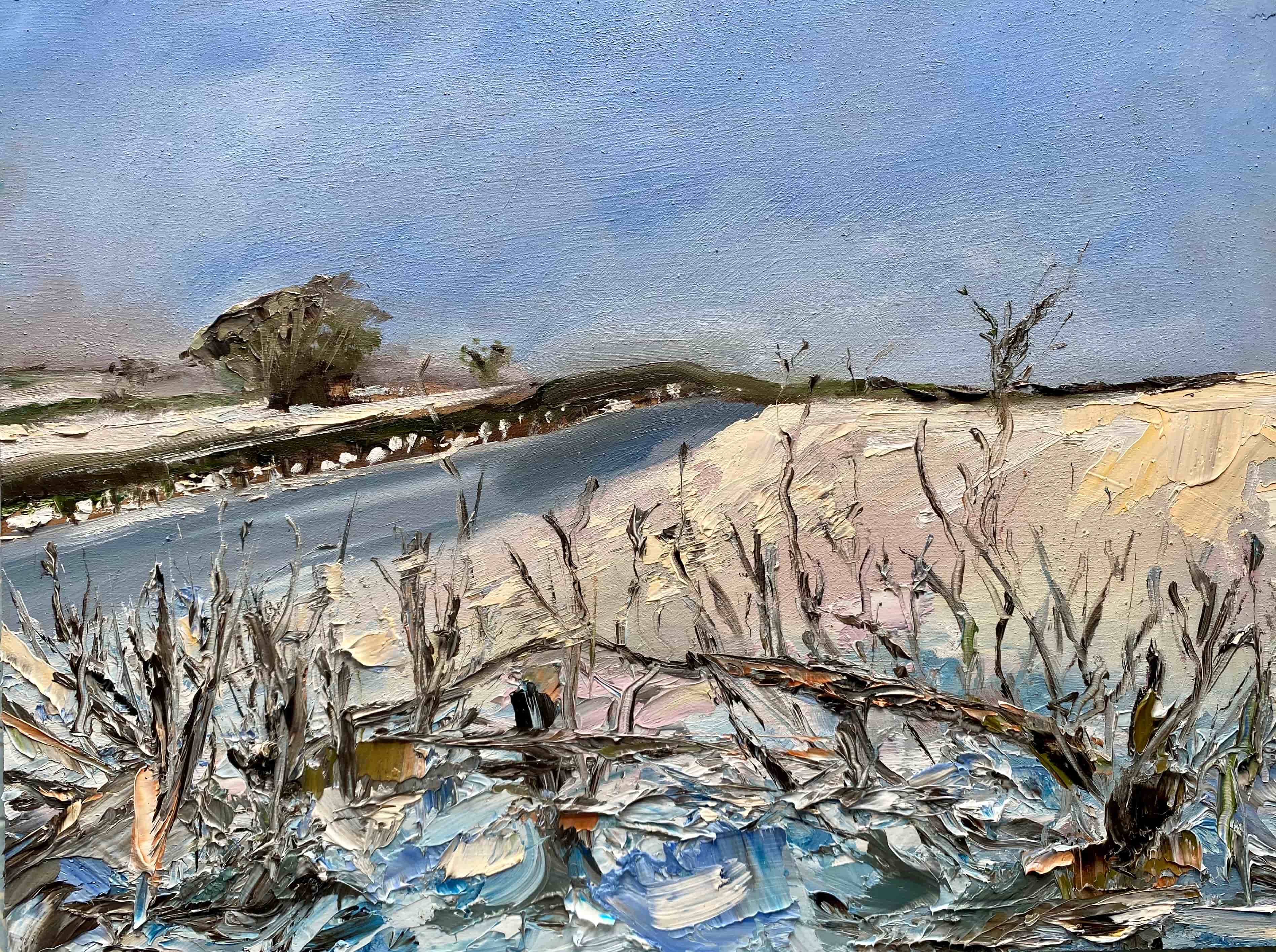 snow landscape oil painting hedge blue and white