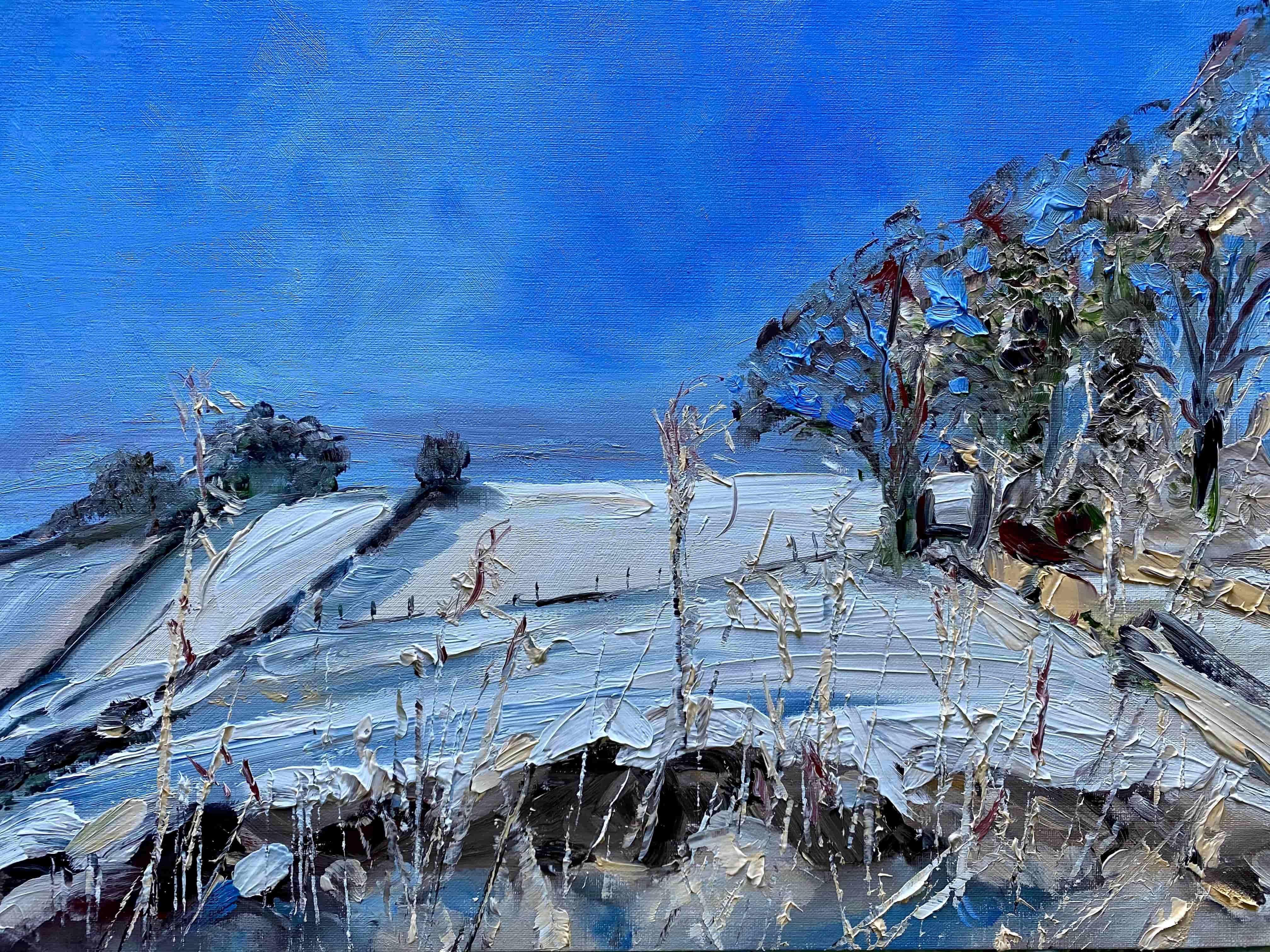 oil painting snowy landscape blue sky white field