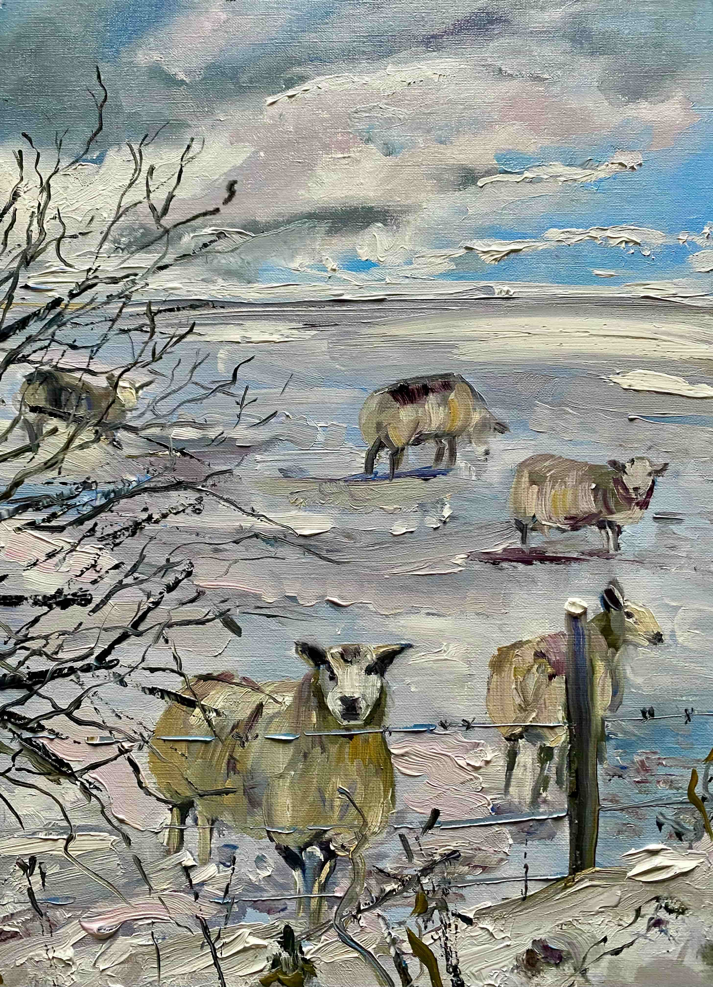 Oil painting sheep snowy field bare tree