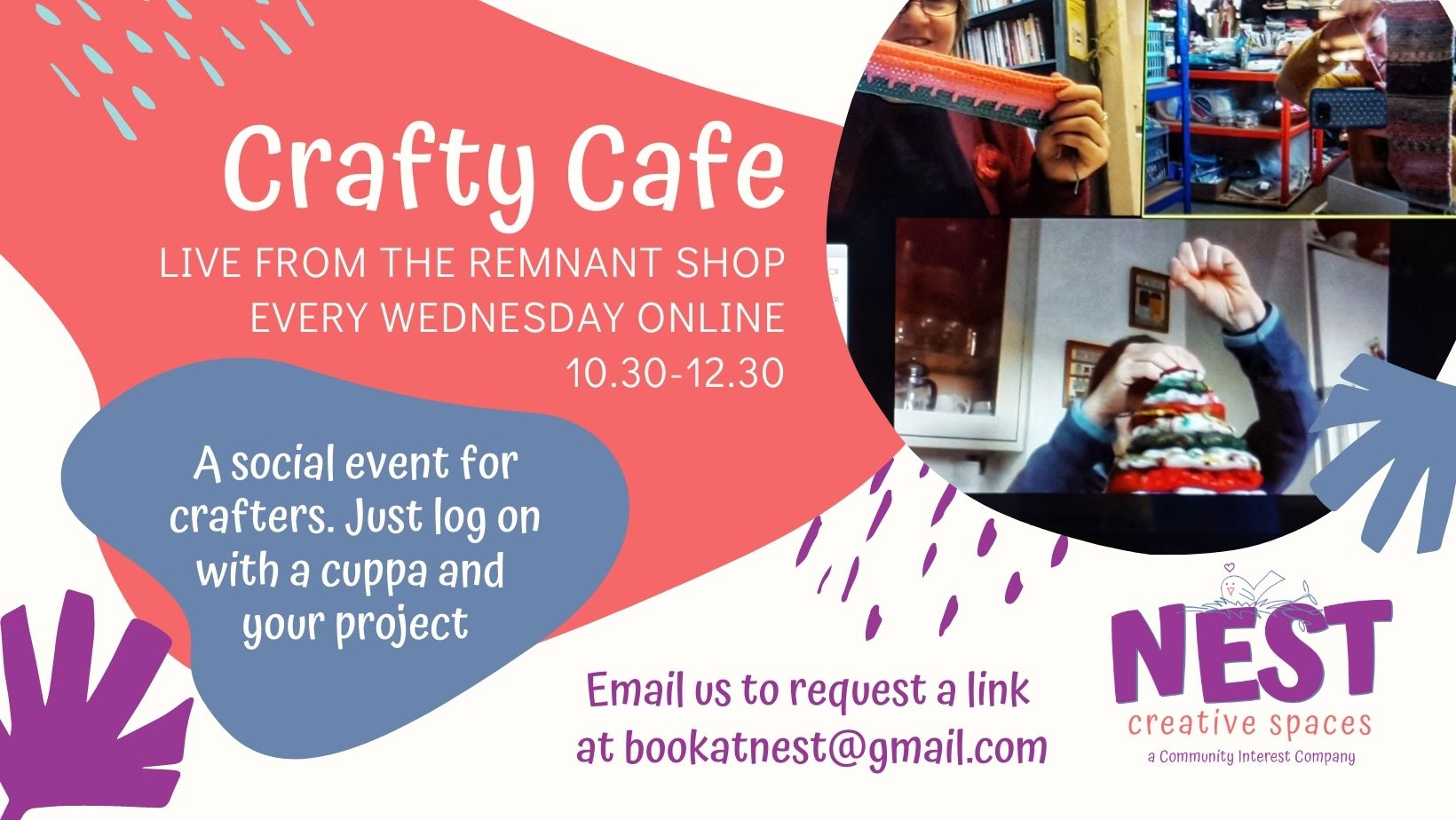 Details about the online Crafty Cafe run online every Wednesday