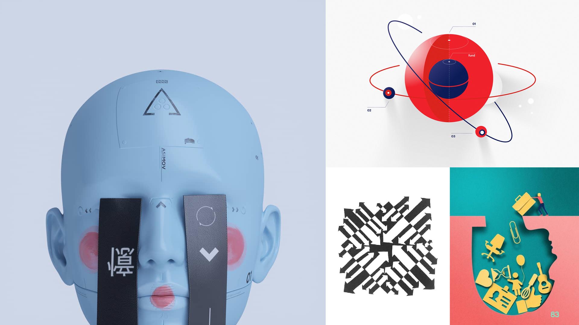 Inspirational graphics collage, blockchain visuals mood-board.