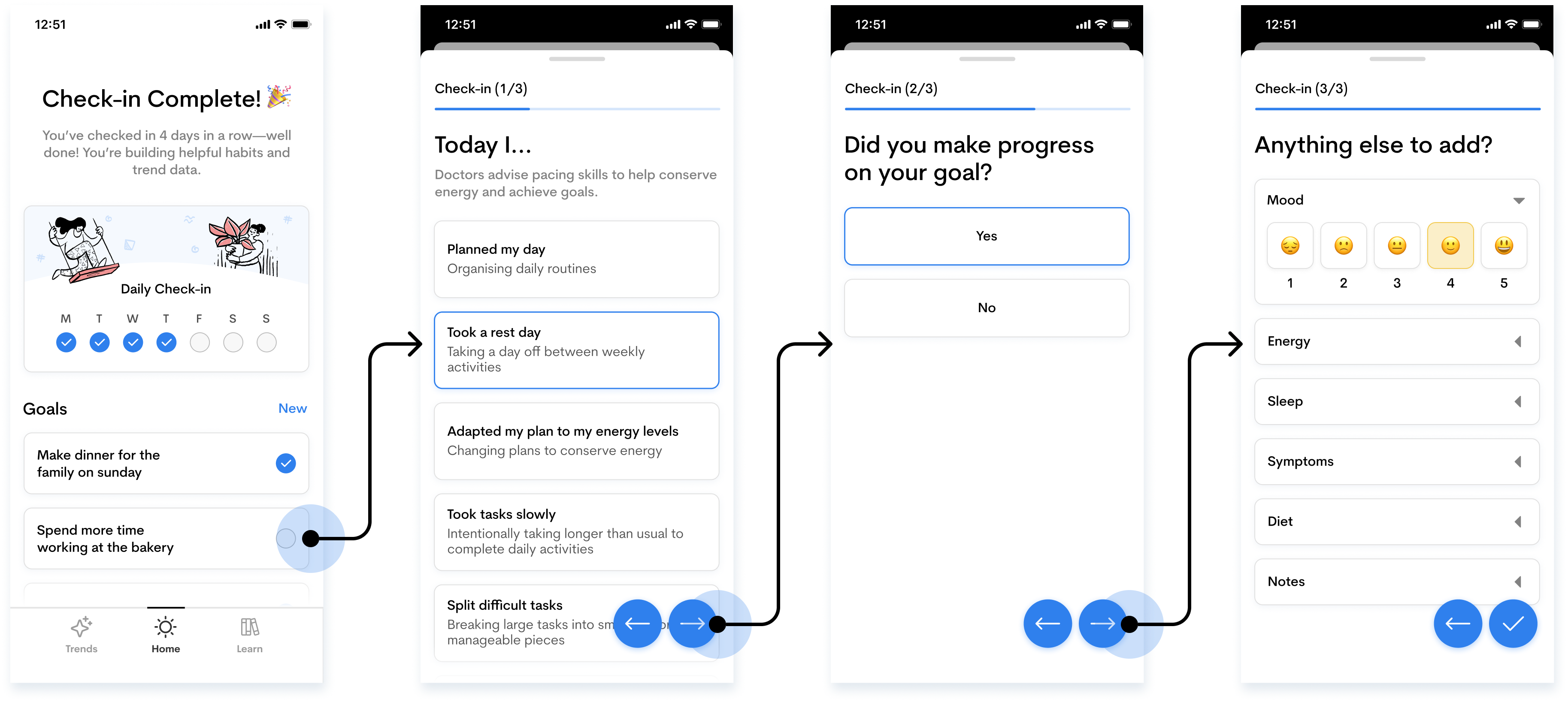High-fidelity design showing how to complete a daily check-in using LongCo