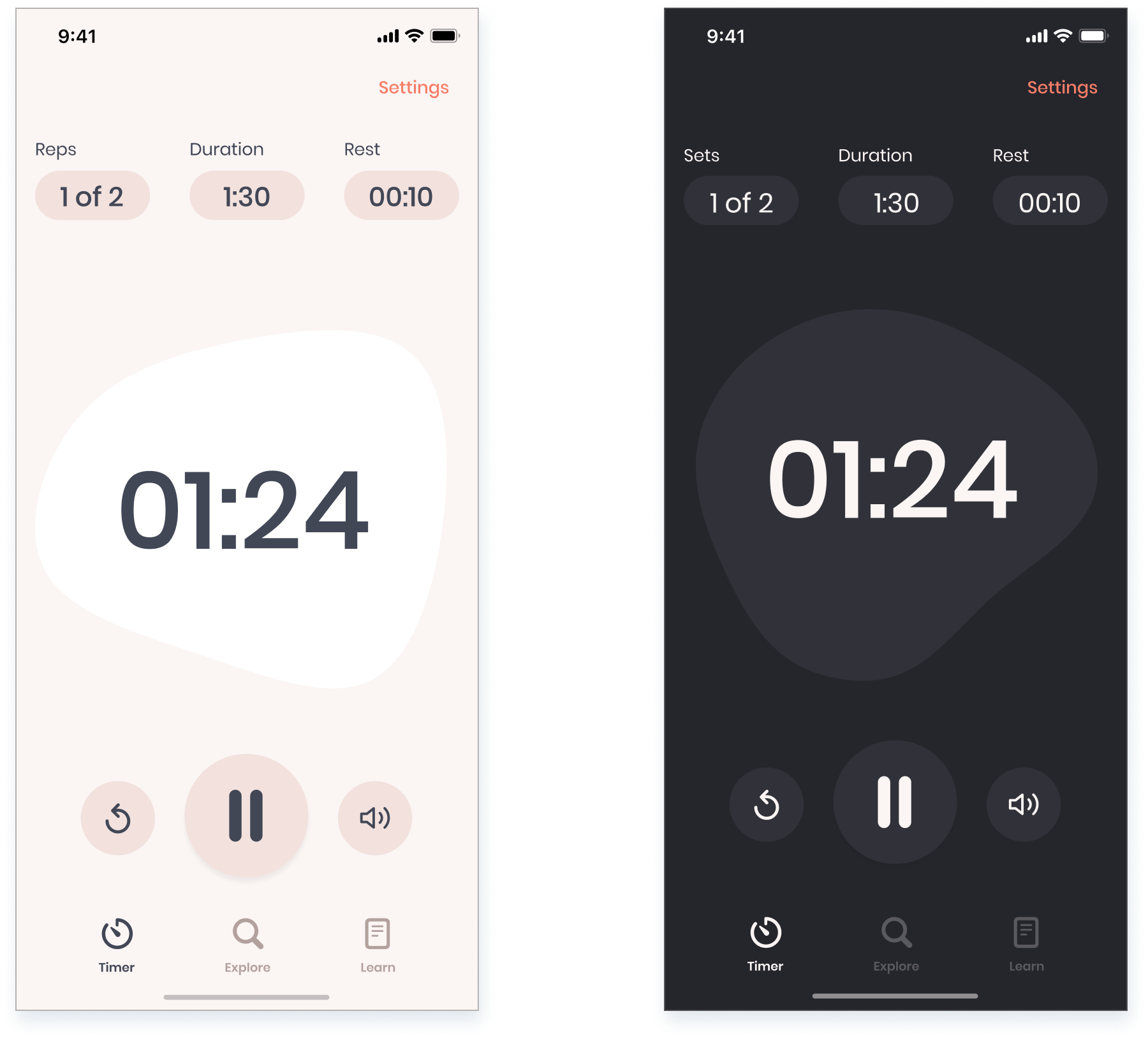 high-fidelity design showing light and dark mode versions of the timer screen