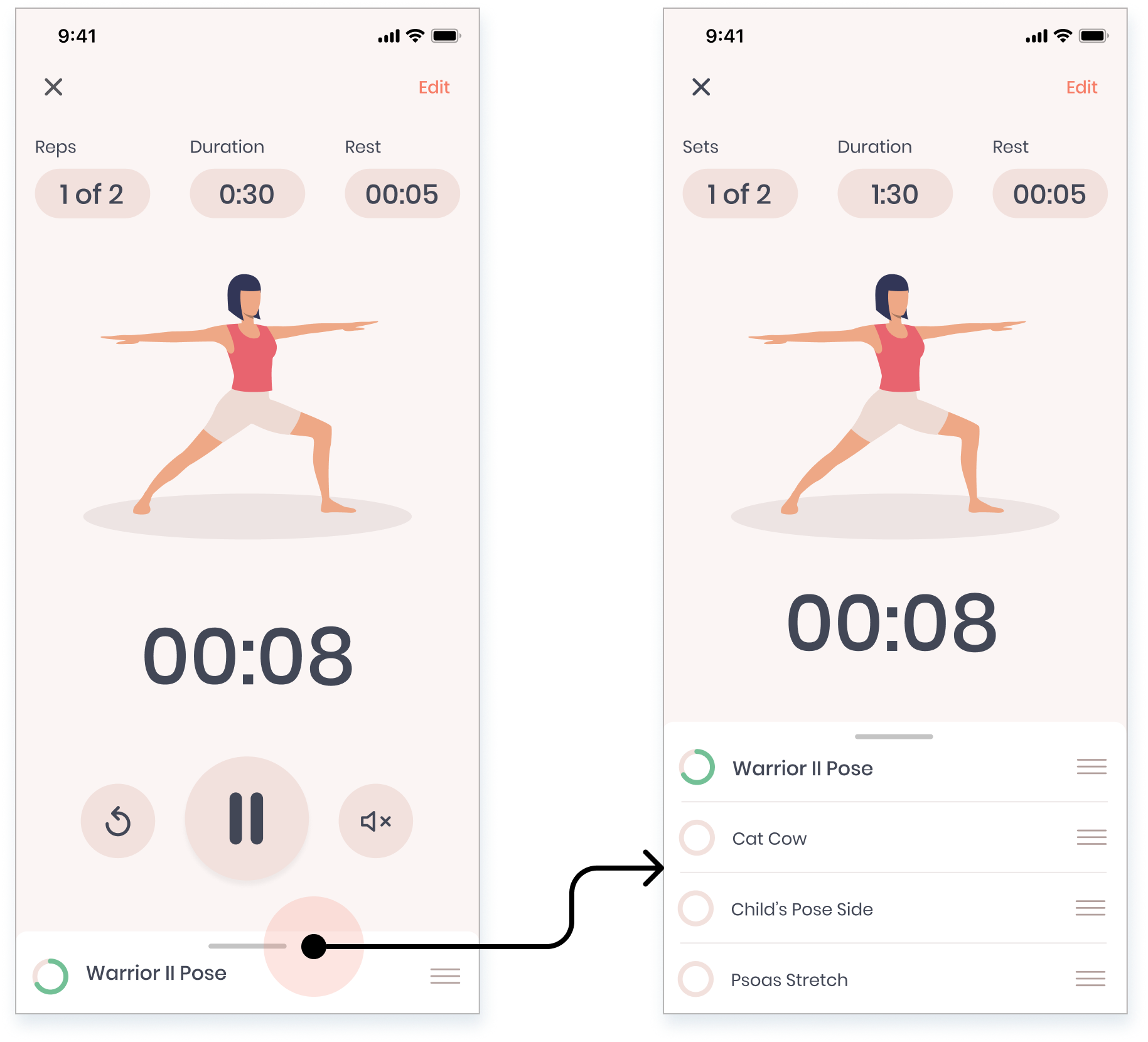 High-fidelity design showing how to expand a routine in Stretch