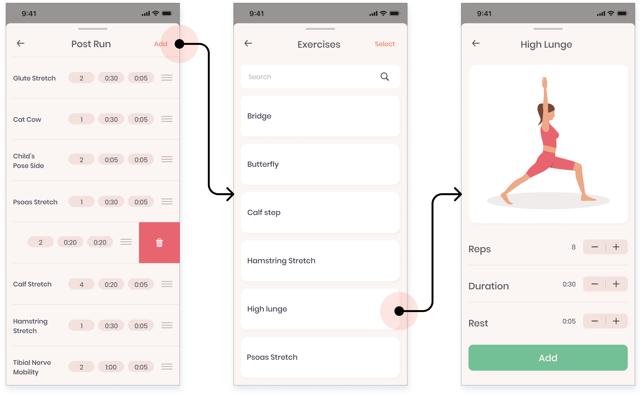 high-fidelity design showing how to add an exercise in Stretch