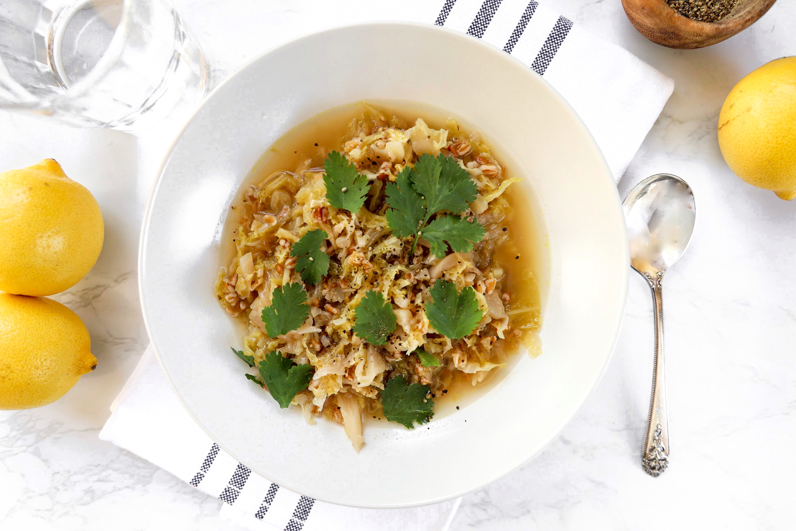 Cabbage and Farro Soup