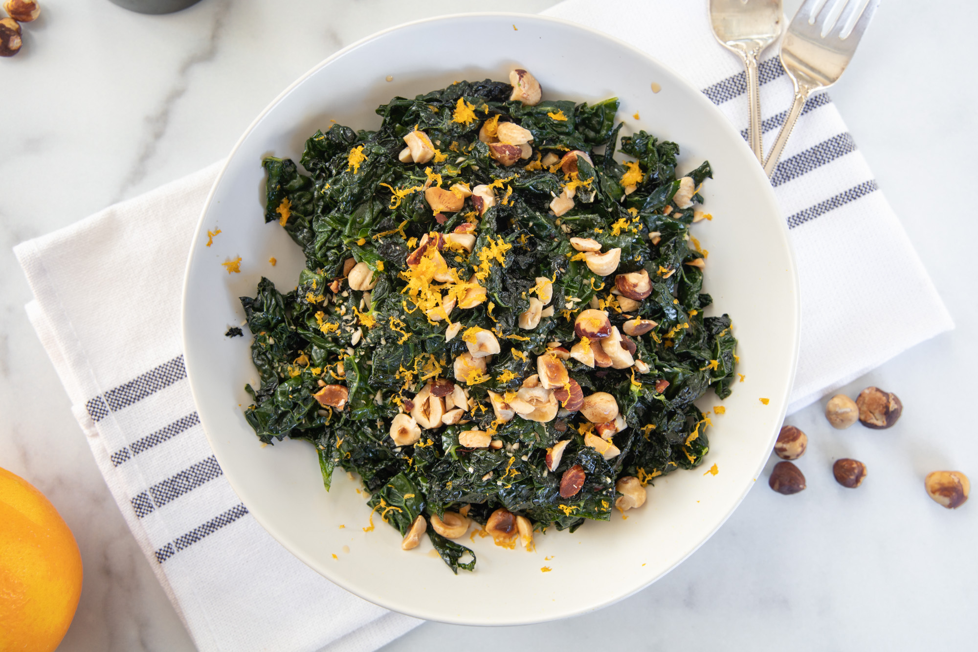 Kale with Hazelnuts and Orange Zest