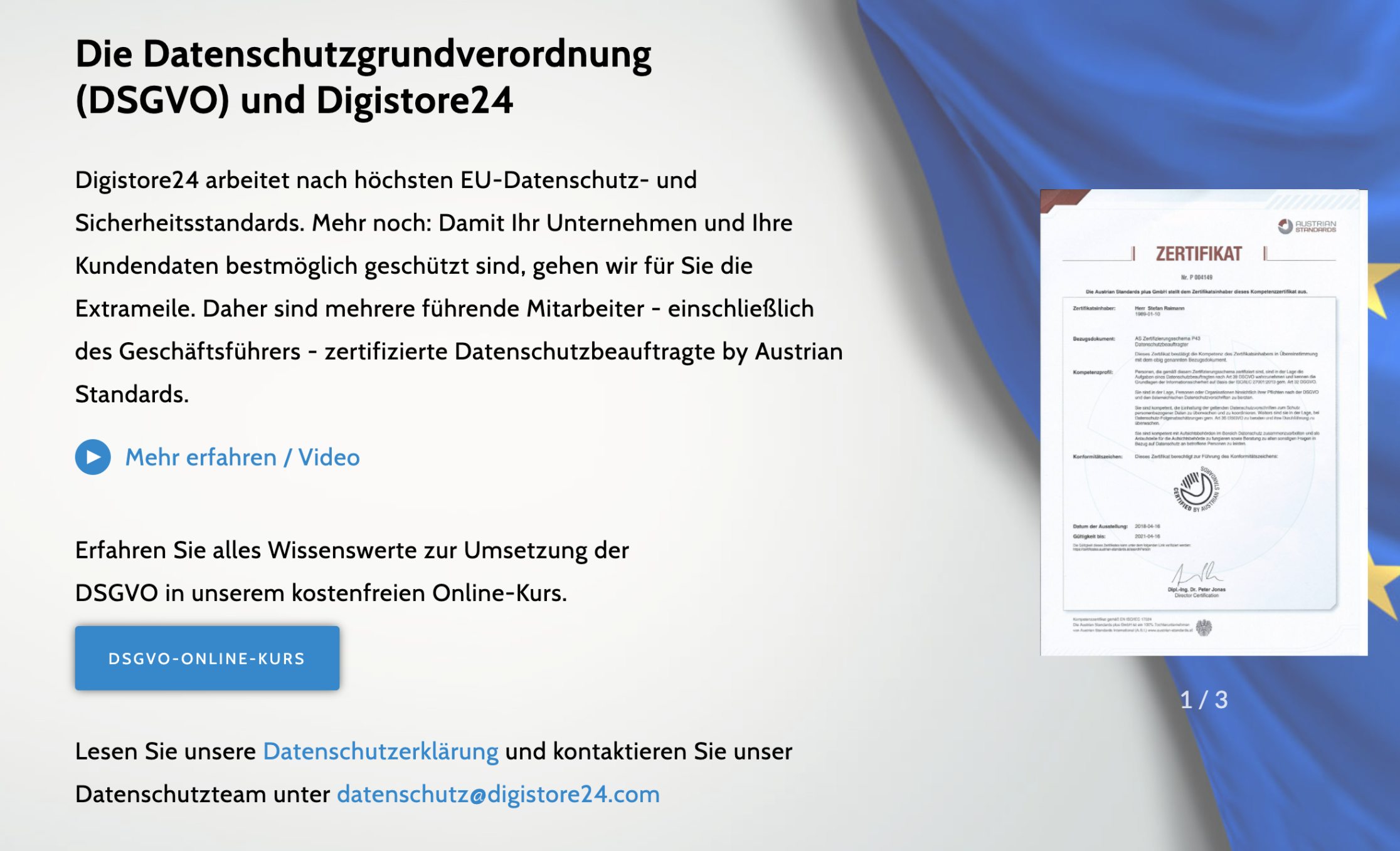 Digistore24's German website shows their GDPR certificate