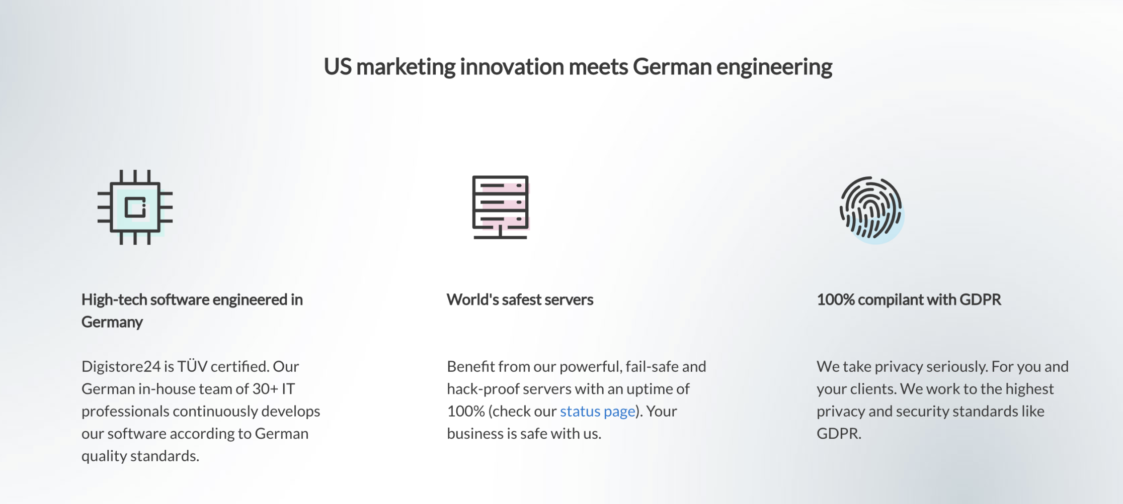 "Digistore24's website says ""US marketing innovation meets German engineering"""