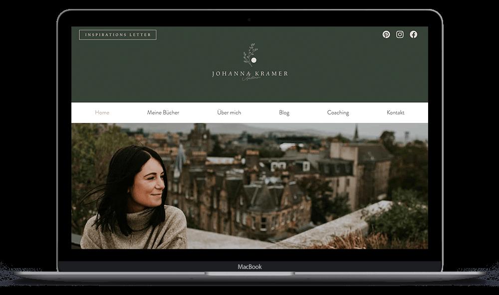 Laptop screen showing client's website