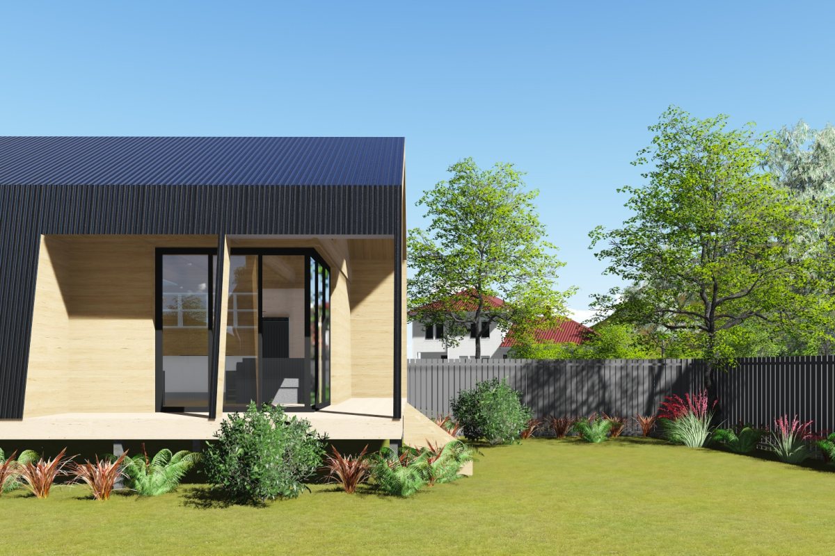 A computerized representation of a wooden modular home that has a porch and pitched roof.