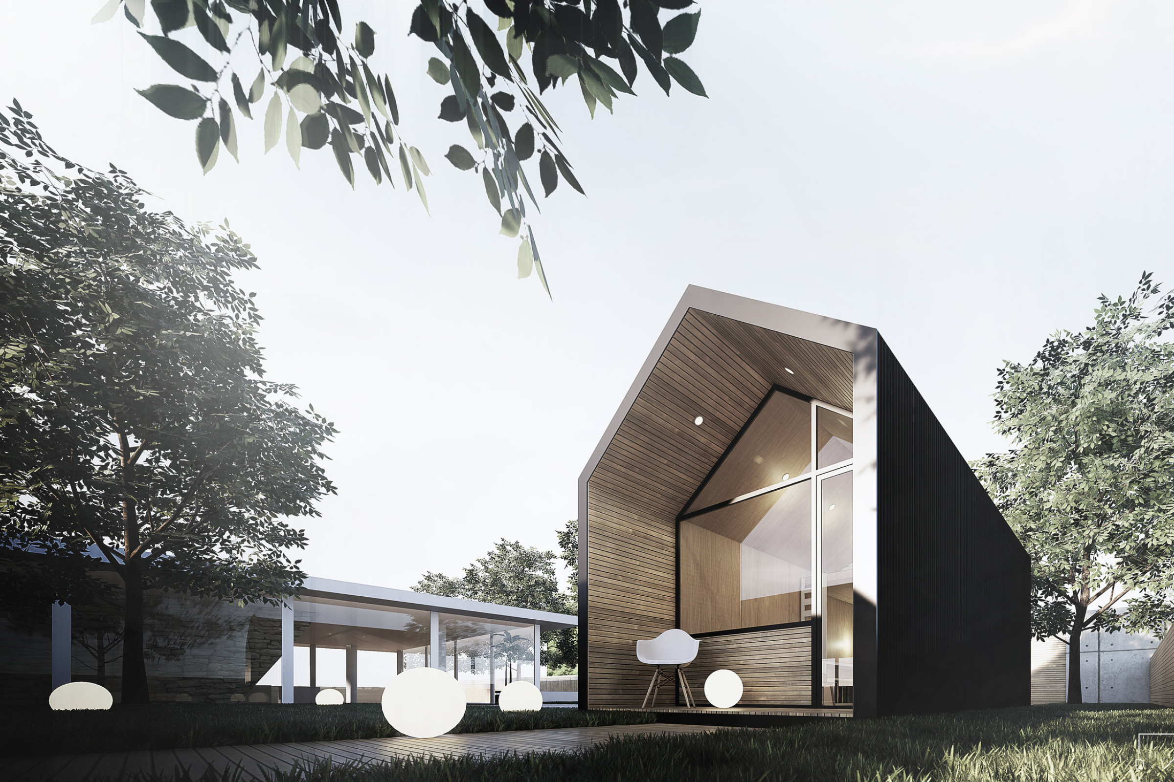 A modular home with the side facing the camera in a pentagon shape, a path leading to it through a garden, and lamps dotted around it.