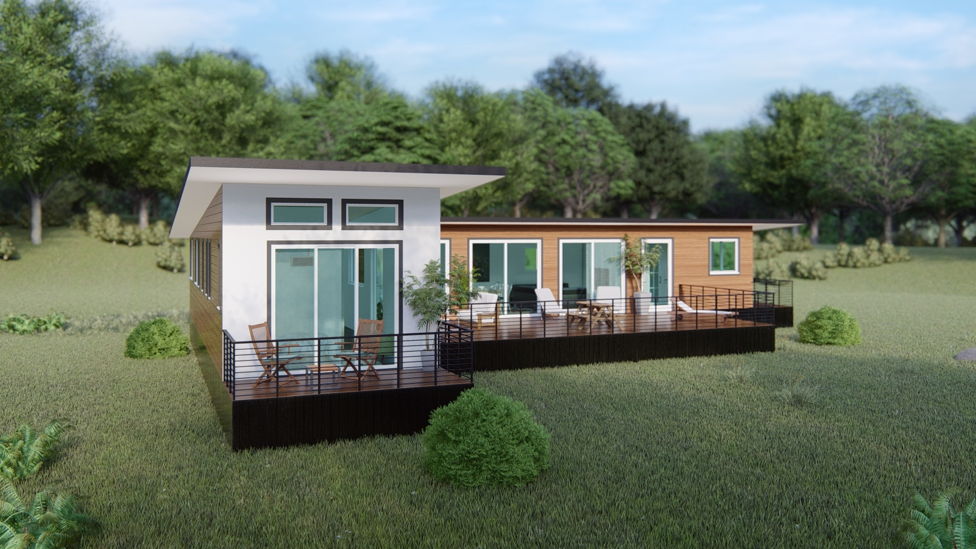 A computer-rendered image of a modular home situated in a rural, natural environment, with a deck, steps, angular roof and large glass windows visible.